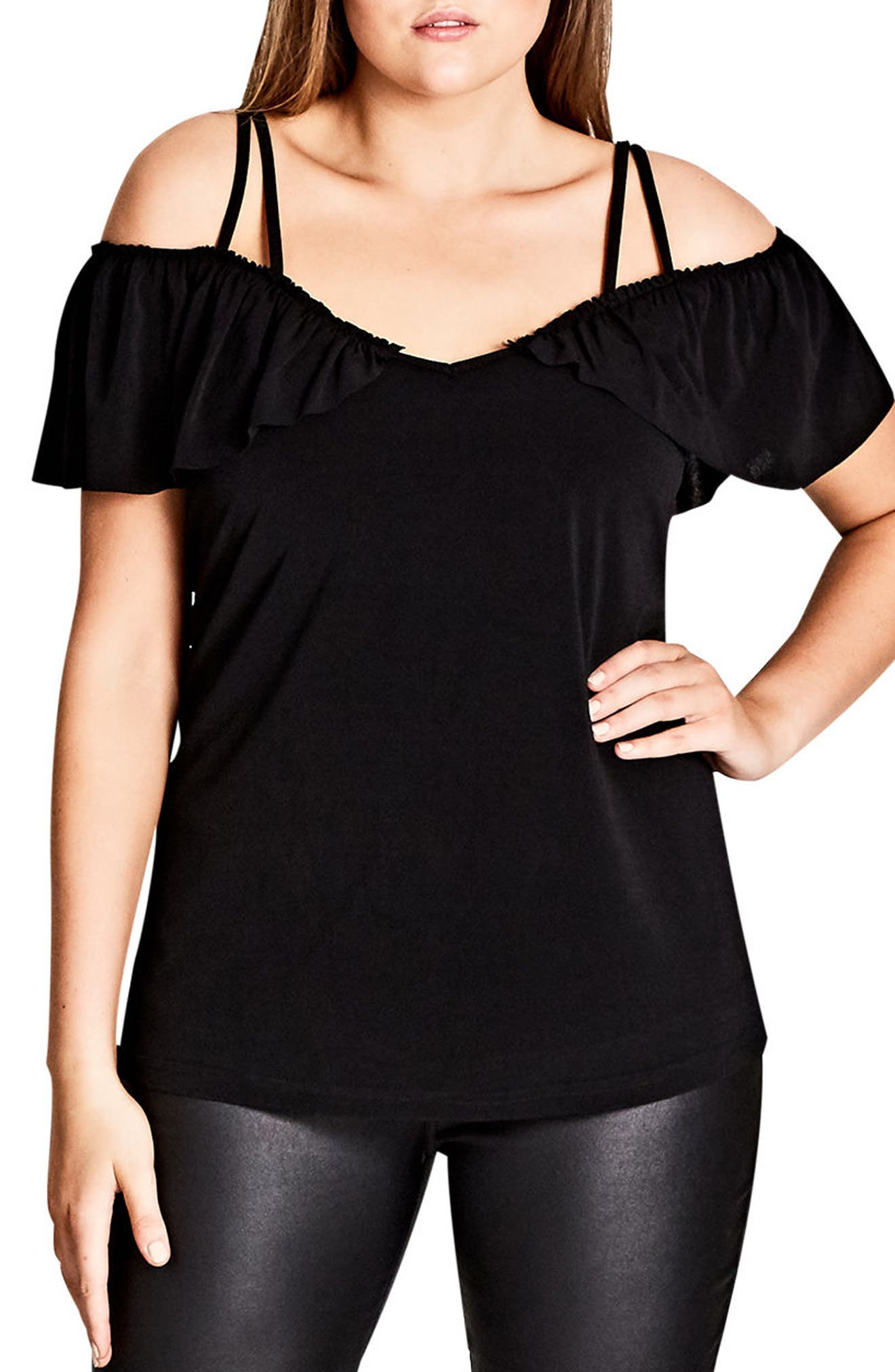 Frill Off the Shoulder Top,                             Main thumbnail 1, color,                             Black