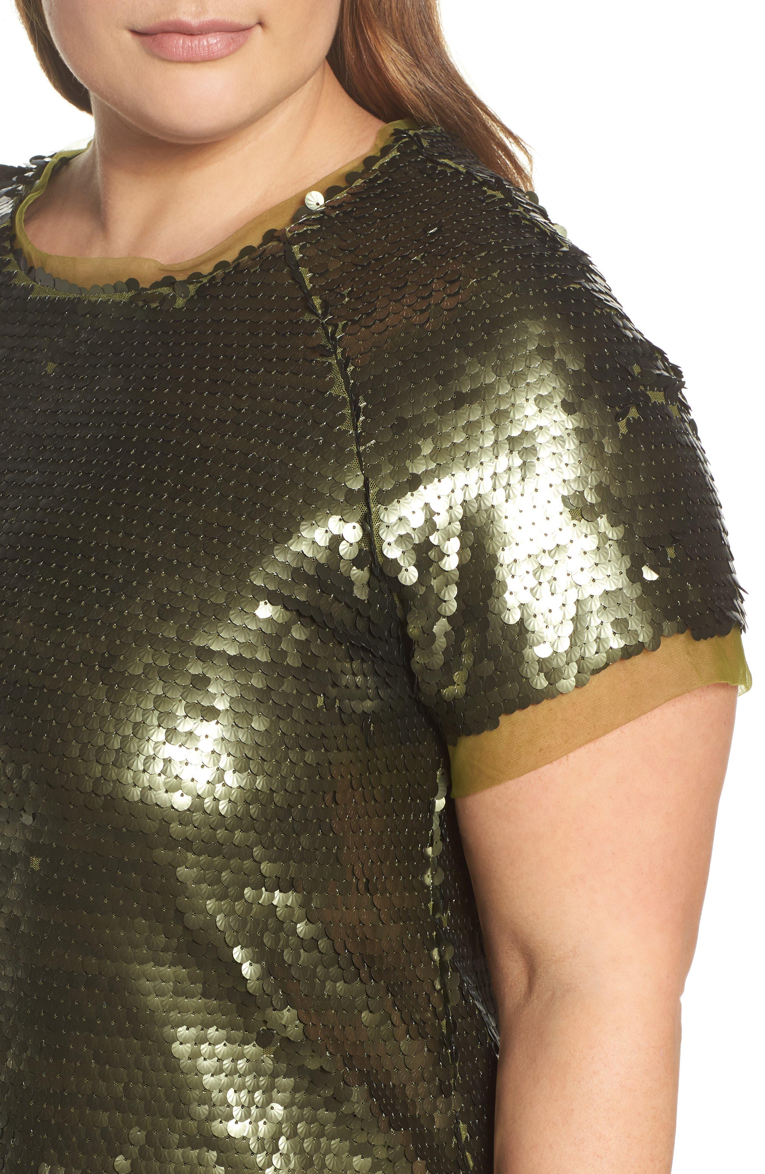 Alternate Image 4  - ELVI Sequin Mini Dress (Plus Size)