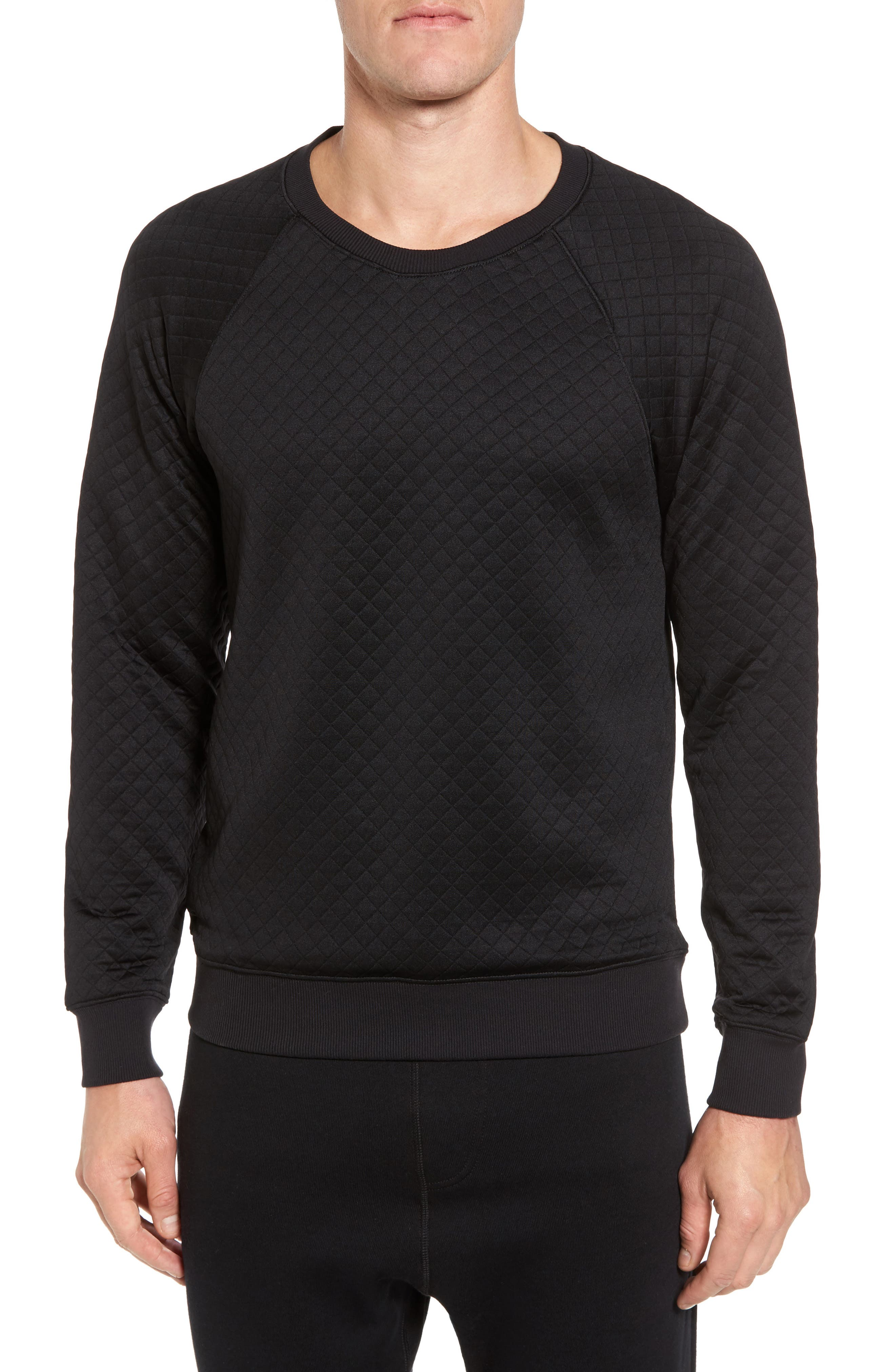 Yama Relaxed Slim Fit Quilted Sweatshirt,                         Main,                         color, Black