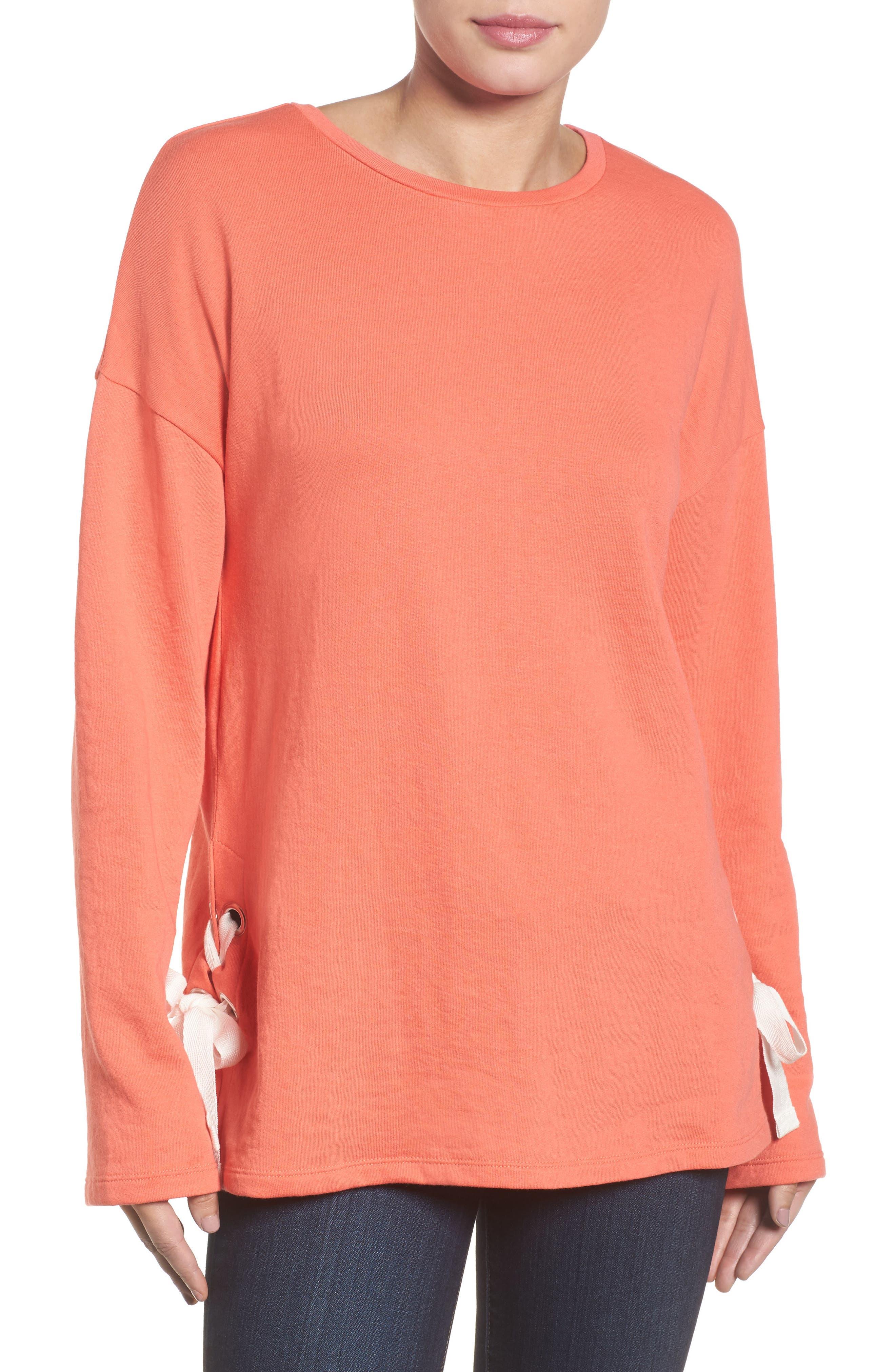 Lace-Up Side Sweatshirt,                         Main,                         color, Coral Sea