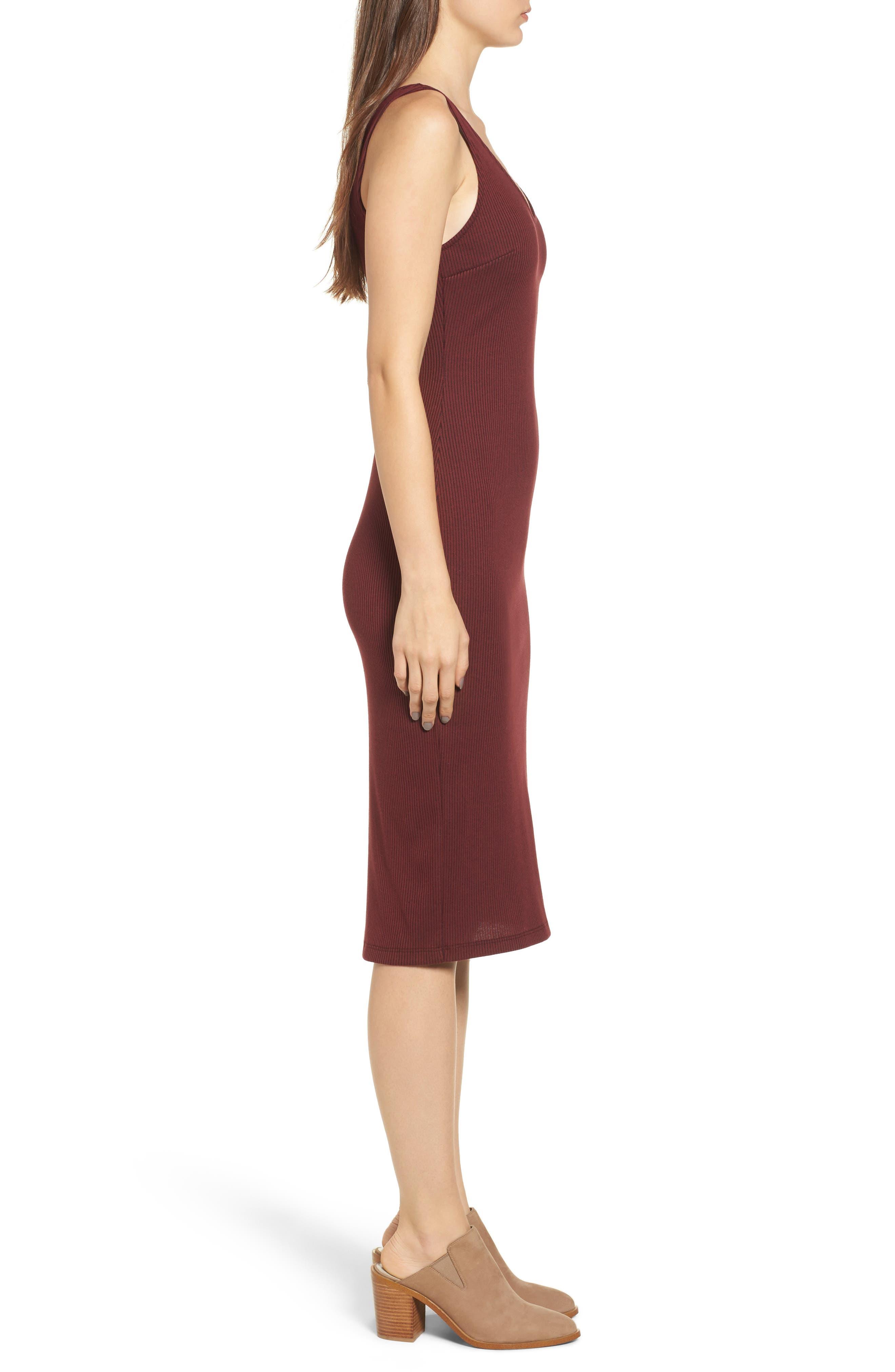Ribbed Body-Con Midi Dress,                             Alternate thumbnail 3, color,                             Burgundy