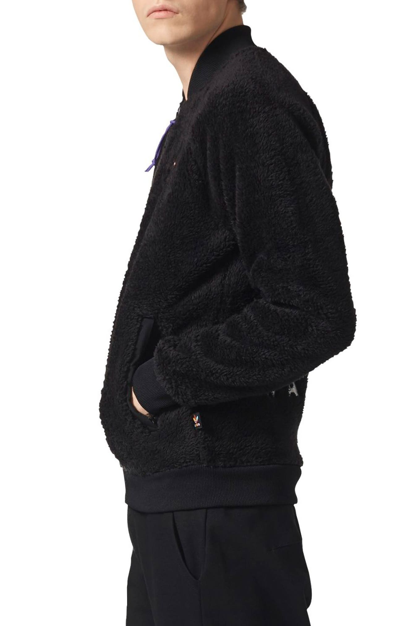 Originals Pharrell Williams Hu Hiking Fleece Track Jacket,                             Alternate thumbnail 3, color,                             Black