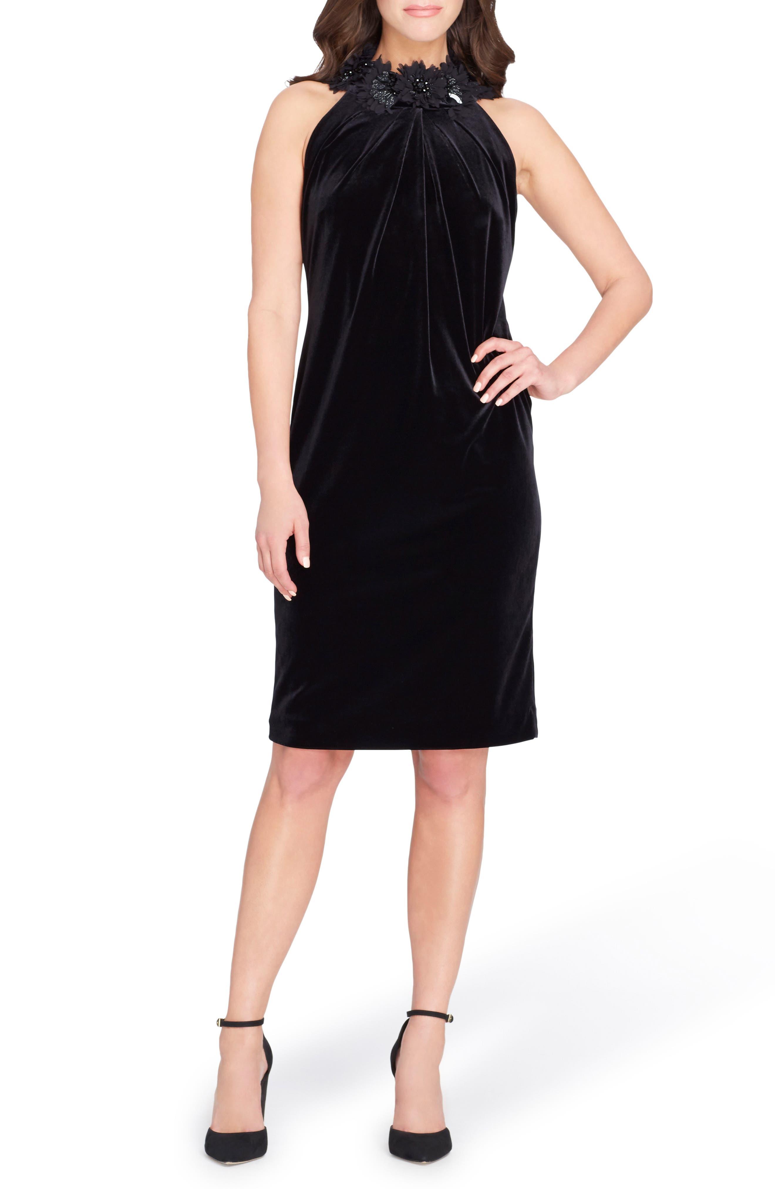 Floral Halter Sheath Dress,                         Main,                         color, Black