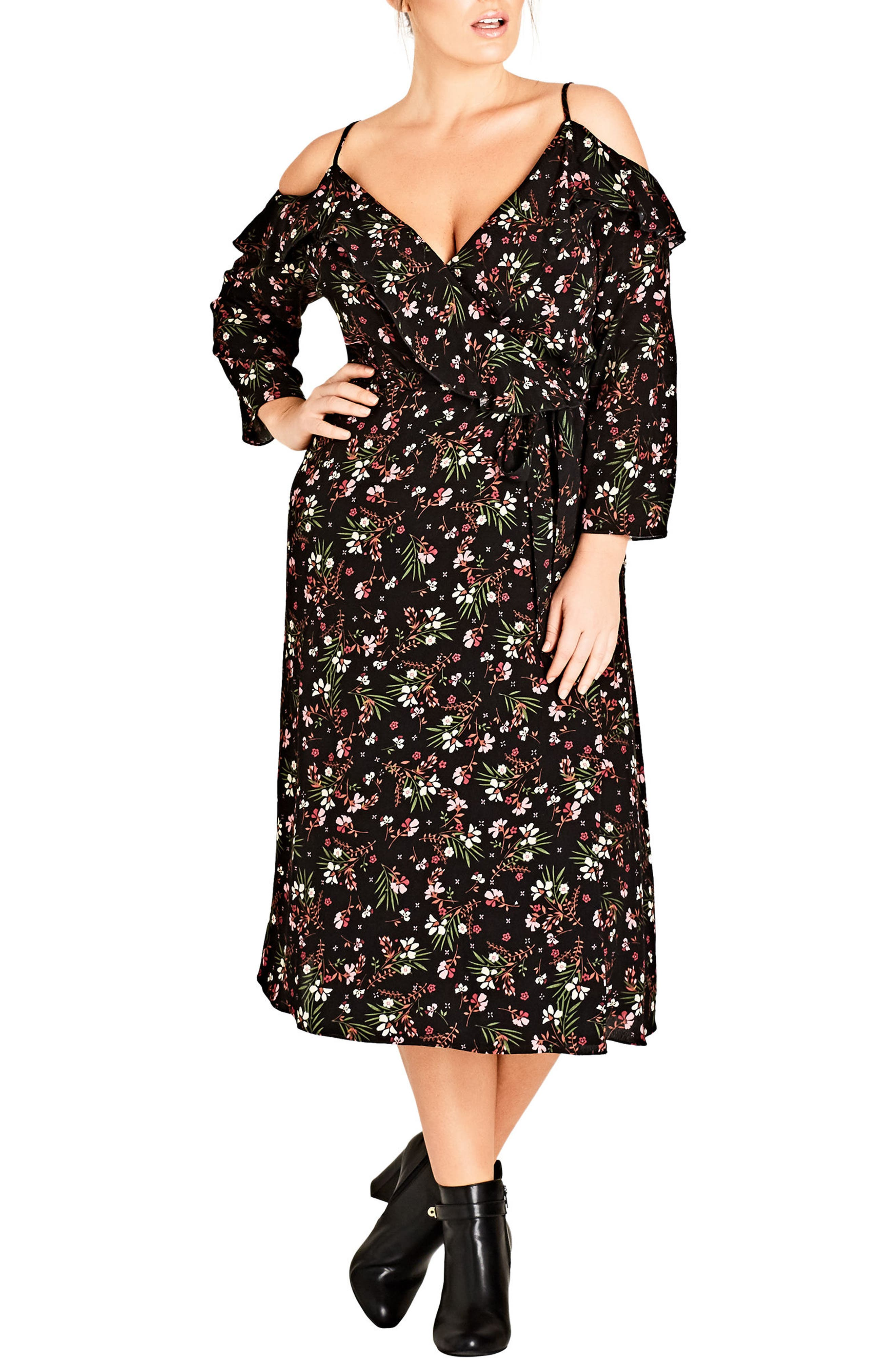 Pretty Floral Cold Shoulder Wrap Dress,                             Main thumbnail 1, color,                             Pretty Floral