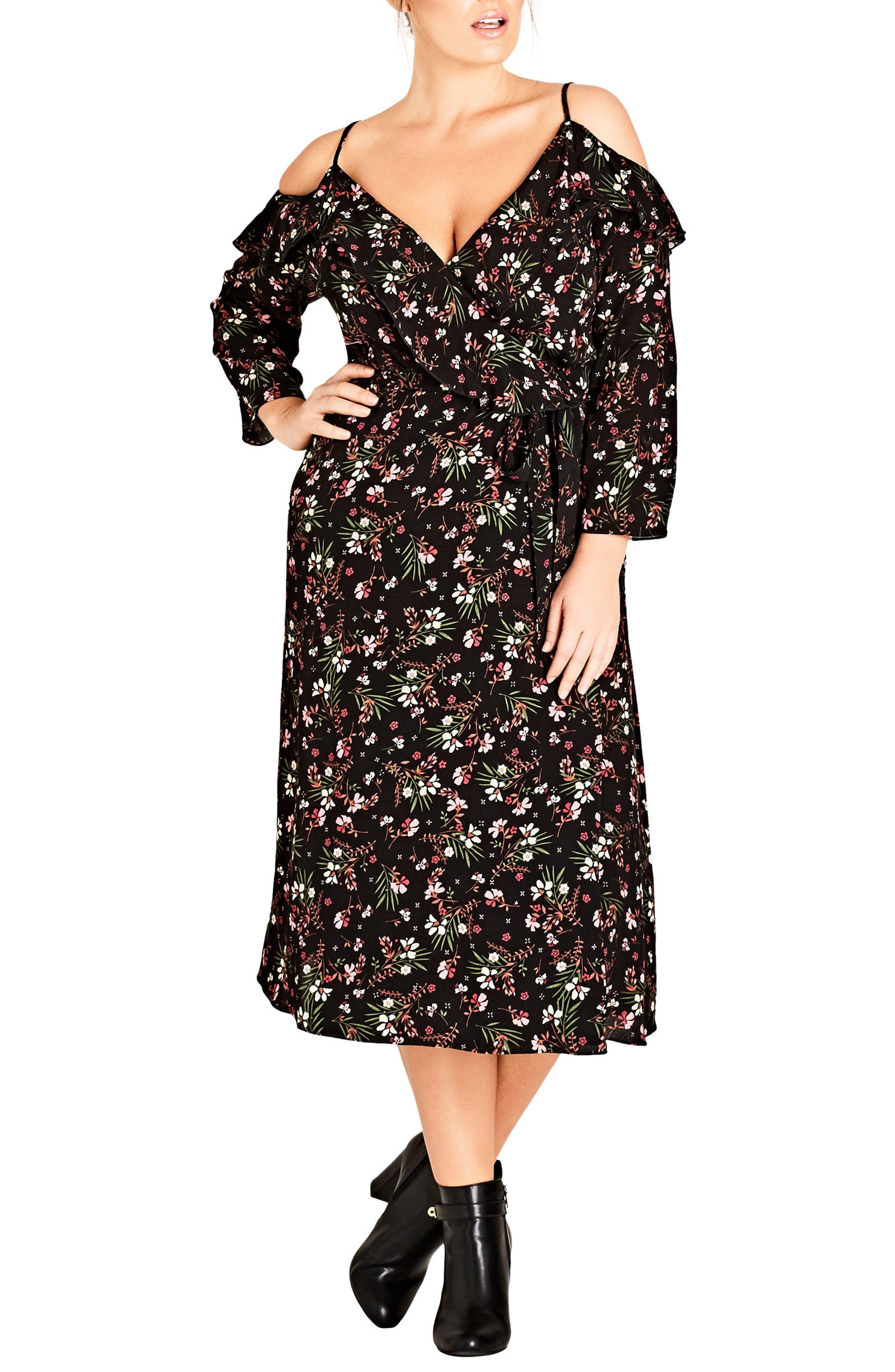 Main Image - City Chic Pretty Floral Cold Shoulder Wrap Dress (Plus Size)