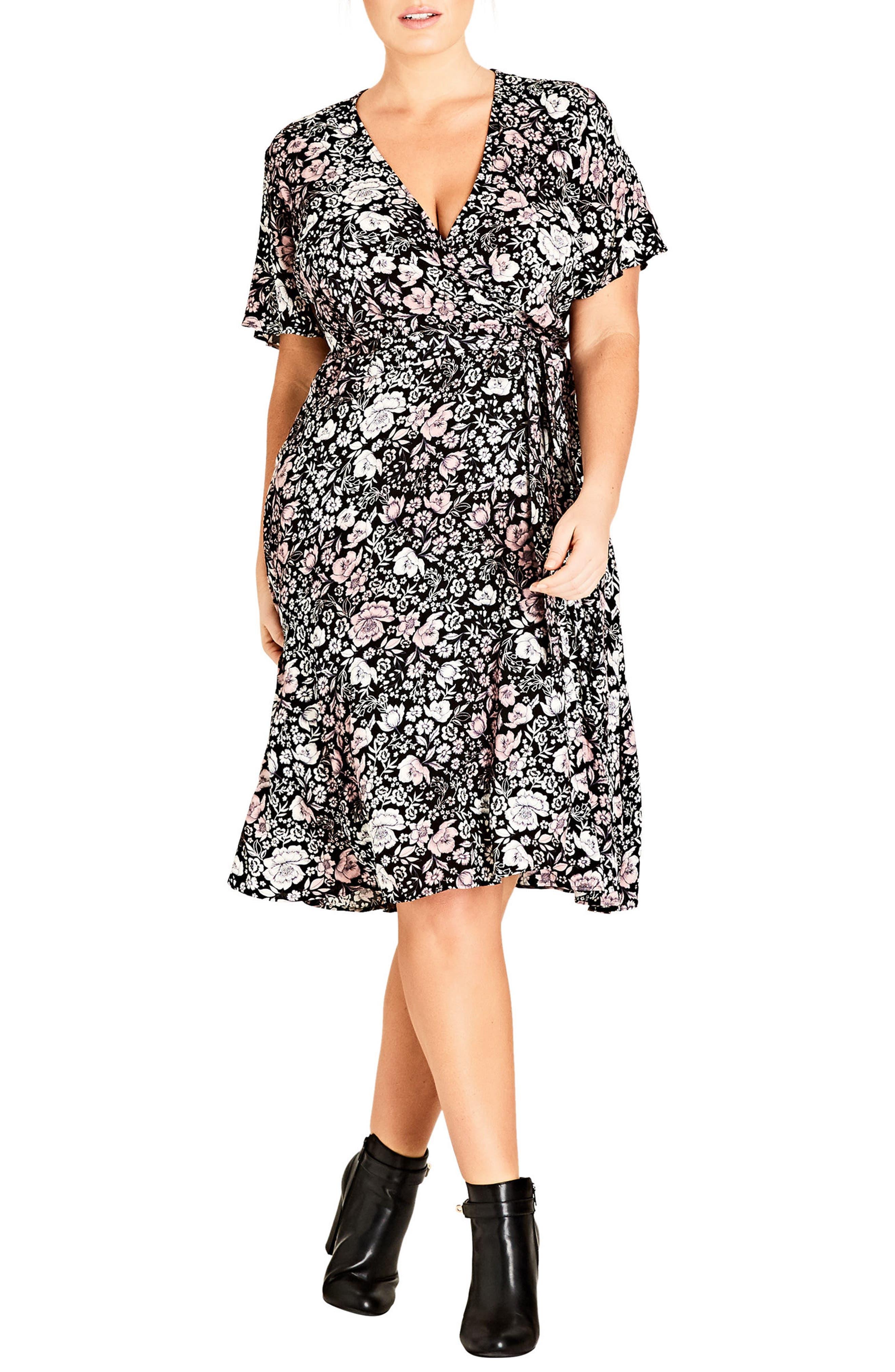 City Chic Etched Floral Wrap Dress (Plus Size)