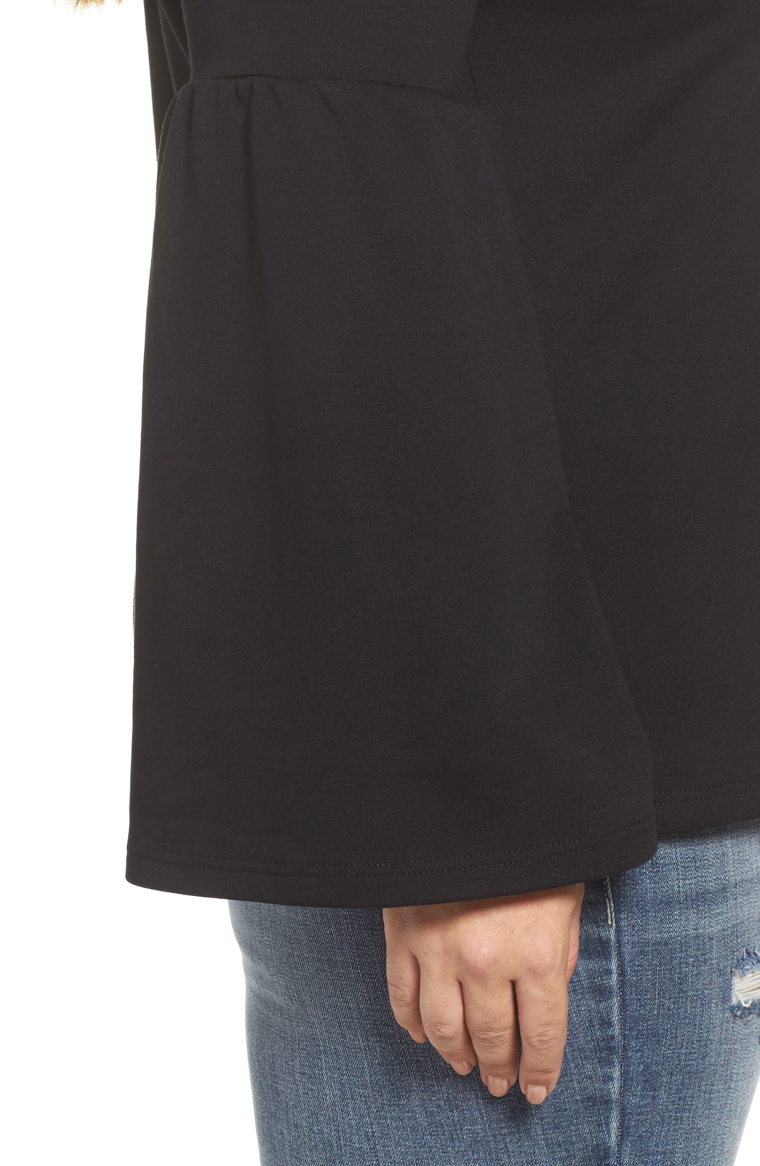 Mock Neck Bell Sleeve Tunic,                             Alternate thumbnail 4, color,                             Black