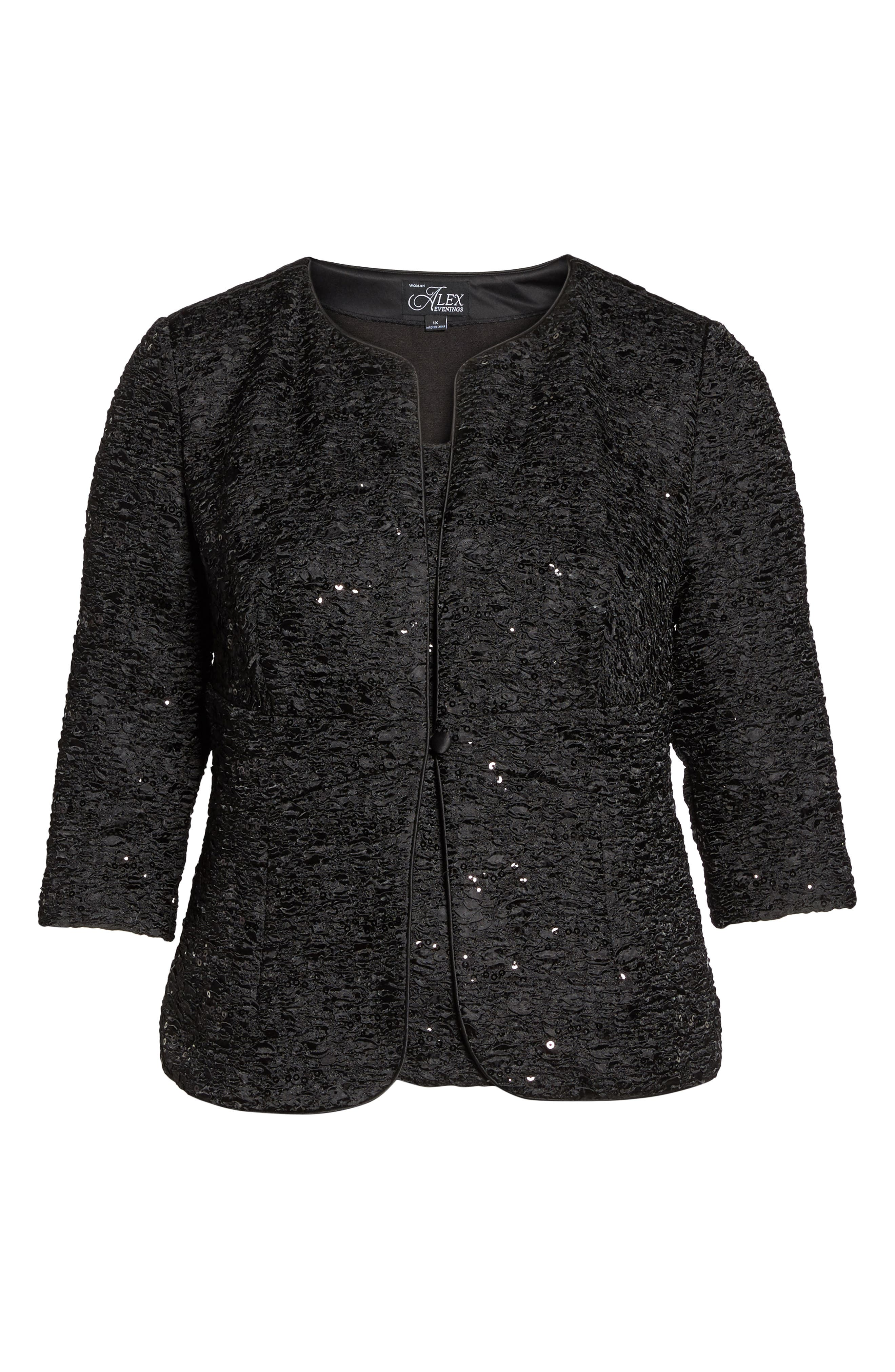 Alternate Image 6  - Alex Evenings Sequin Jacket & Camisole Twinset (Plus Size)