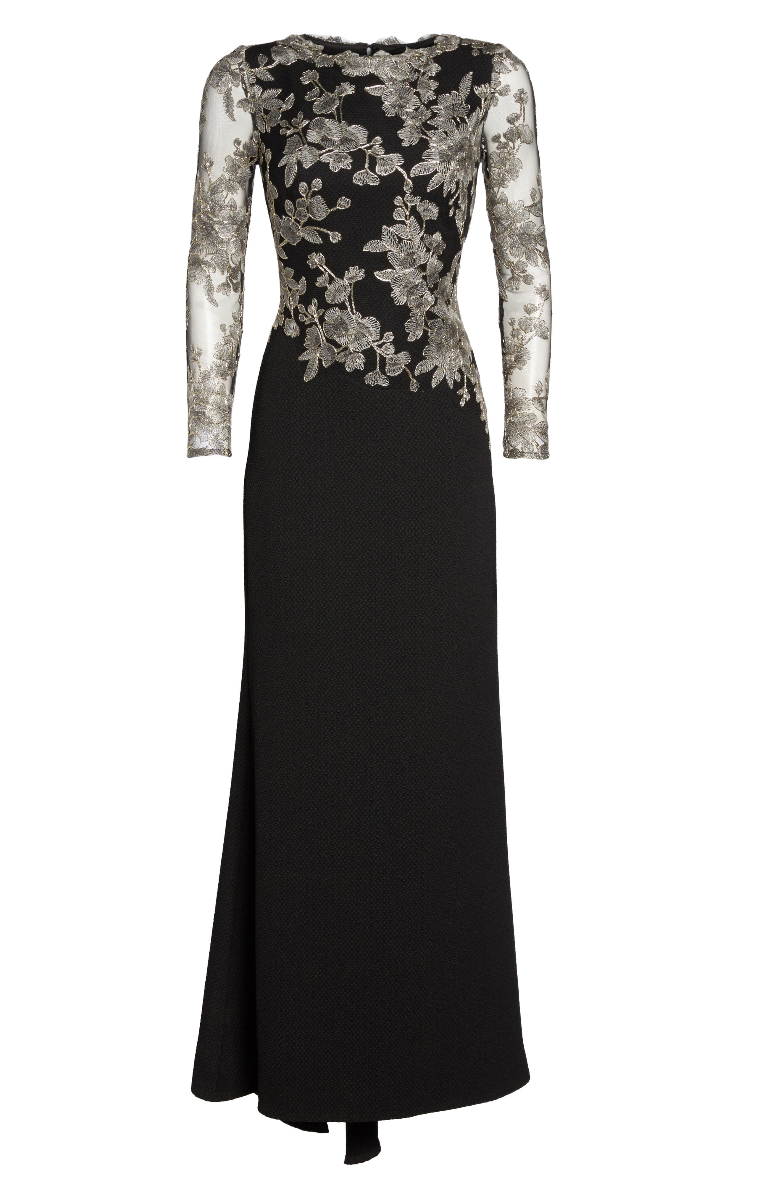 Embroidered Crepe Gown,                             Alternate thumbnail 5, color,                             Smoke Pearl/ Black