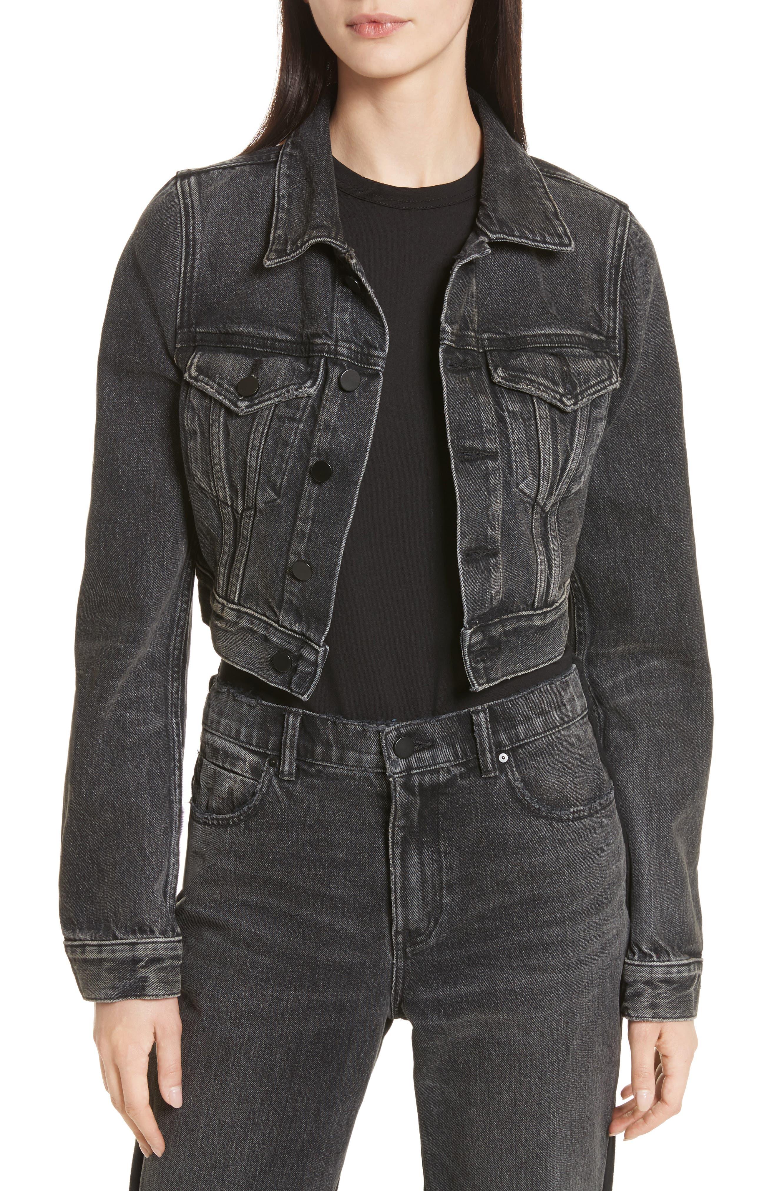 Denim x Alexander Wang Shrunken Jean Jacket,                         Main,                         color, Grey Aged