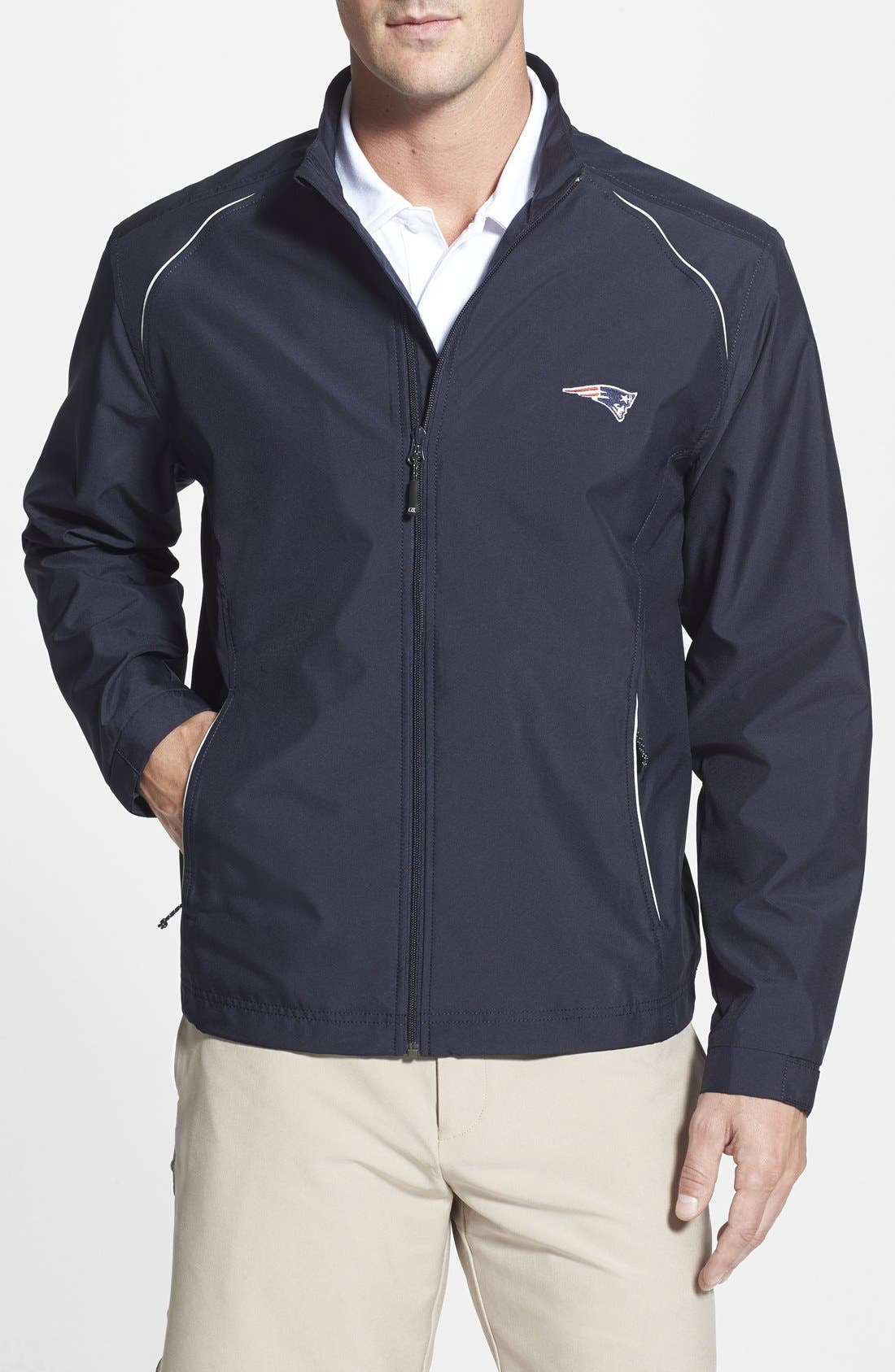 New England Patriots - Beacon WeatherTec Wind & Water Resistant Jacket,                         Main,                         color, Navy Blue