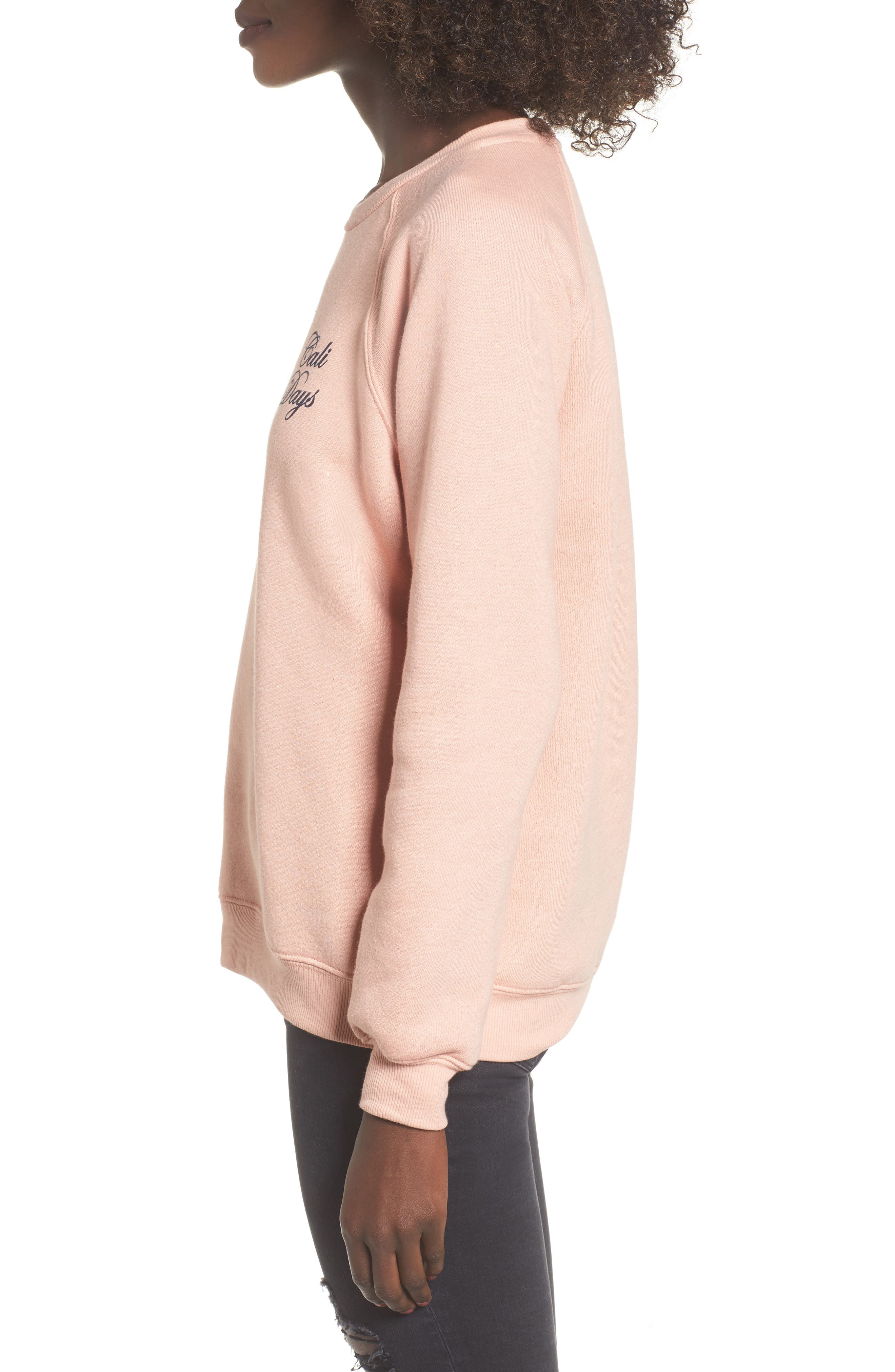 Cali Days Sweatshirt,                             Alternate thumbnail 3, color,                             Pearl Pink