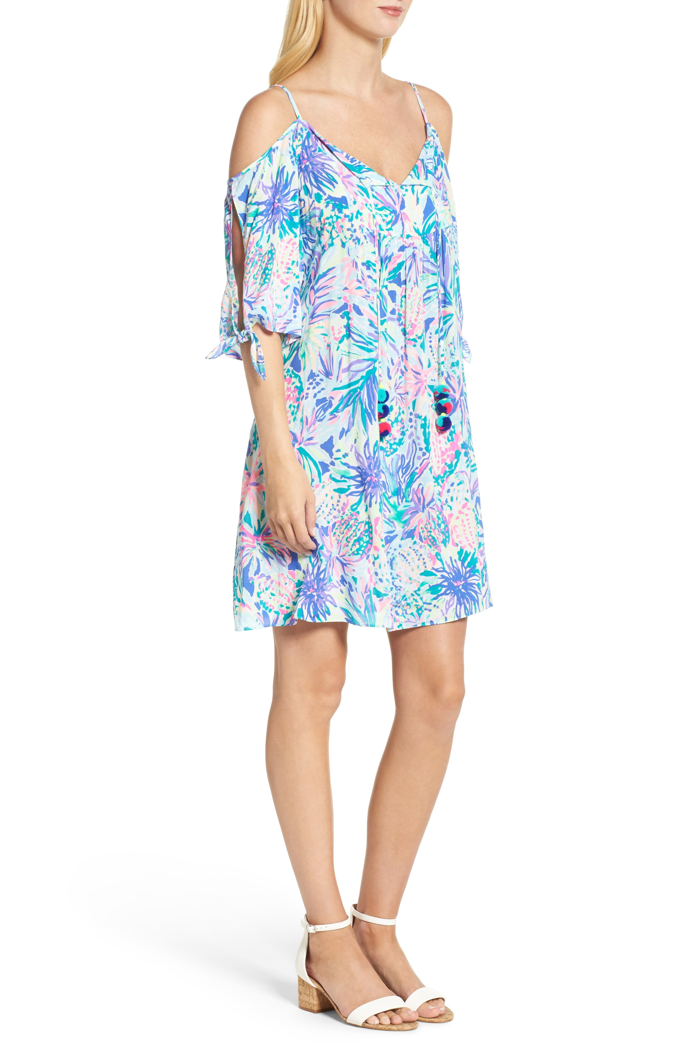Alanna Cold Shoulder Dress,                             Alternate thumbnail 3, color,                             Multi Juniper