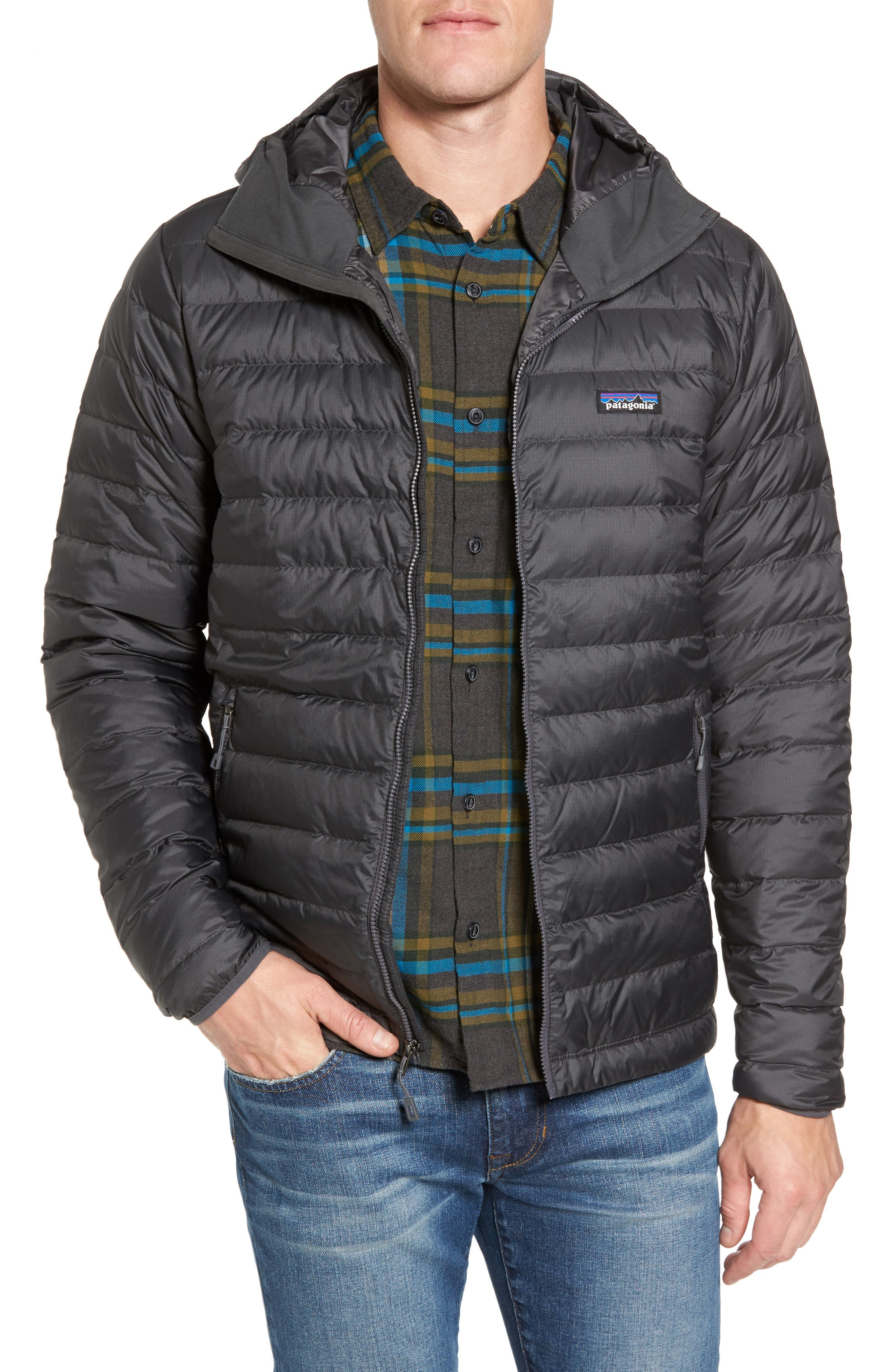 Packable Windproof & Water Resistant Goose Down Sweater Hooded Jacket,                             Main thumbnail 1, color,                             Forge Grey