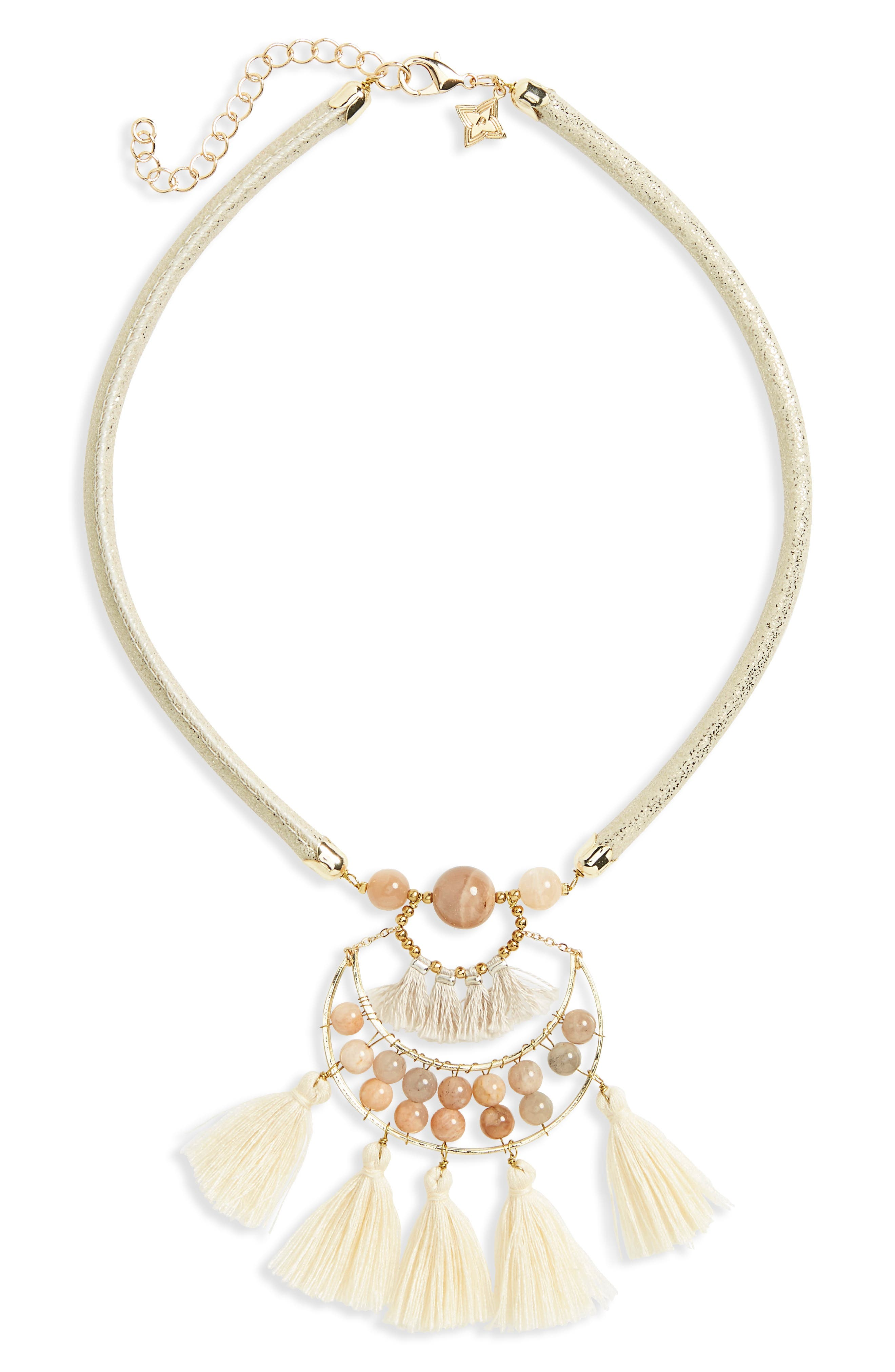 Tassel Pendant Necklace,                         Main,                         color, Pink