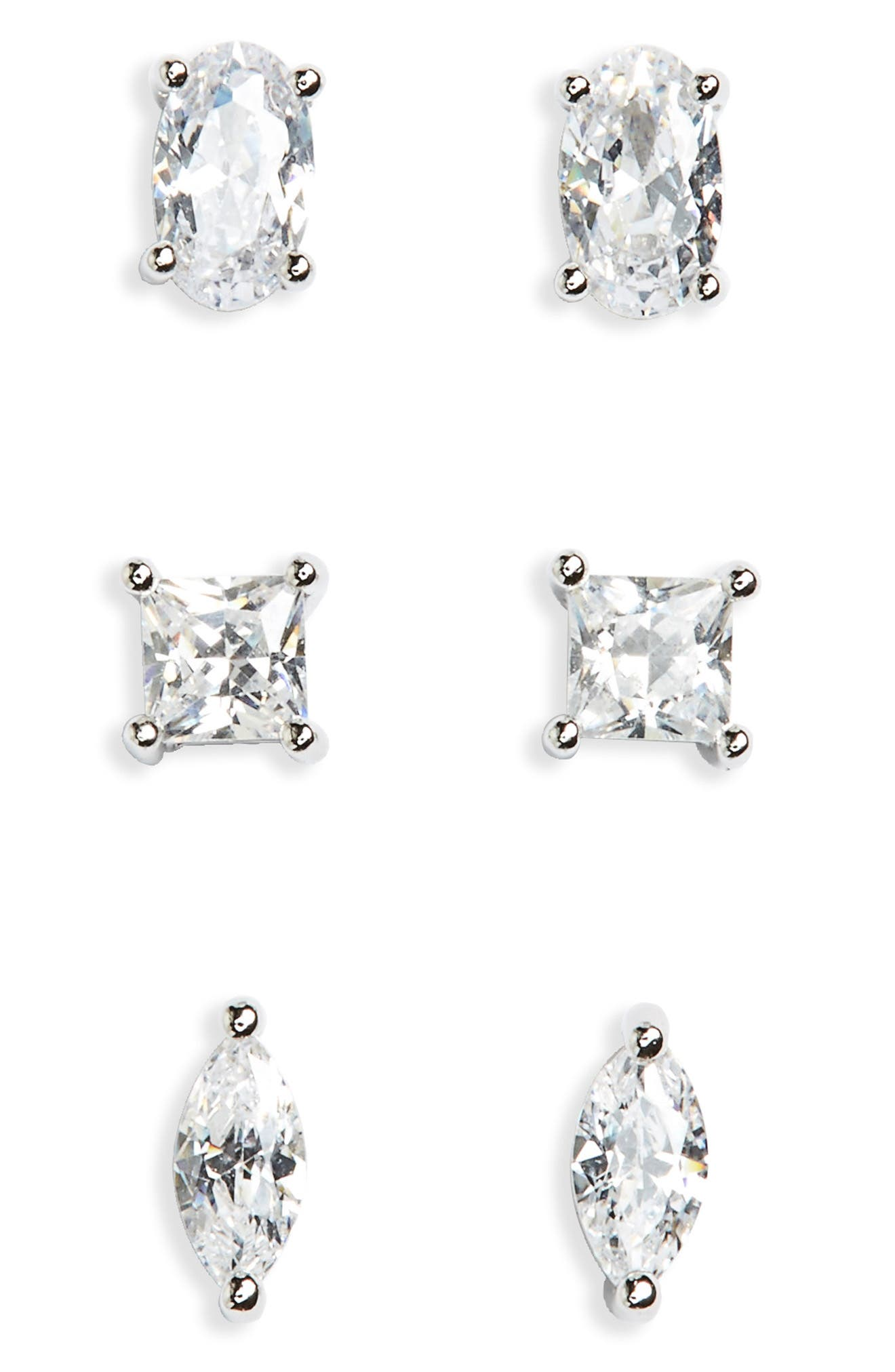 Alternate Image 1 Selected - Nordstrom Set of 3 Cubic Zirconia Studs
