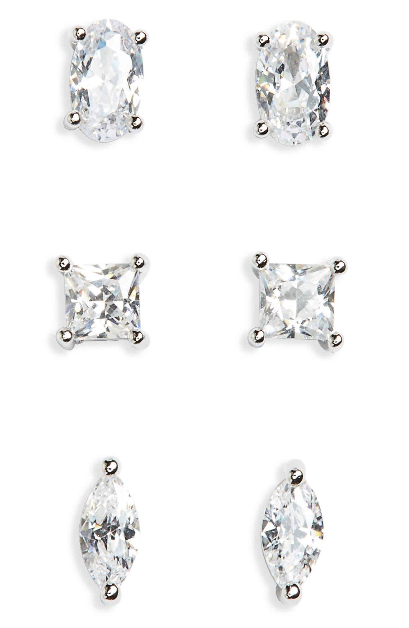 Set of 3 Cubic Zirconia Studs,                         Main,                         color, Platinum