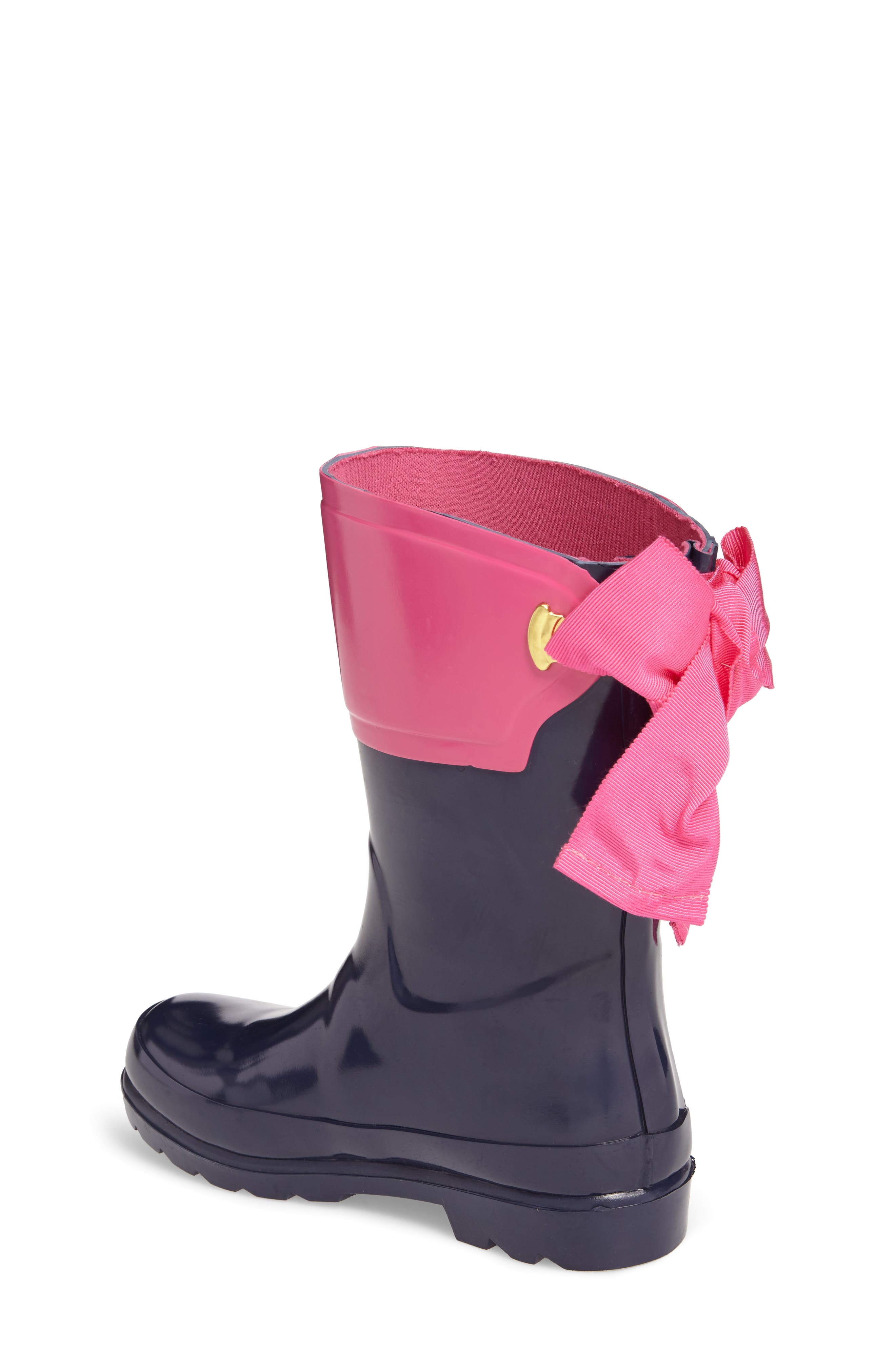 Evedon Bow Waterproof Rain Boot,                             Alternate thumbnail 2, color,                             French Navy