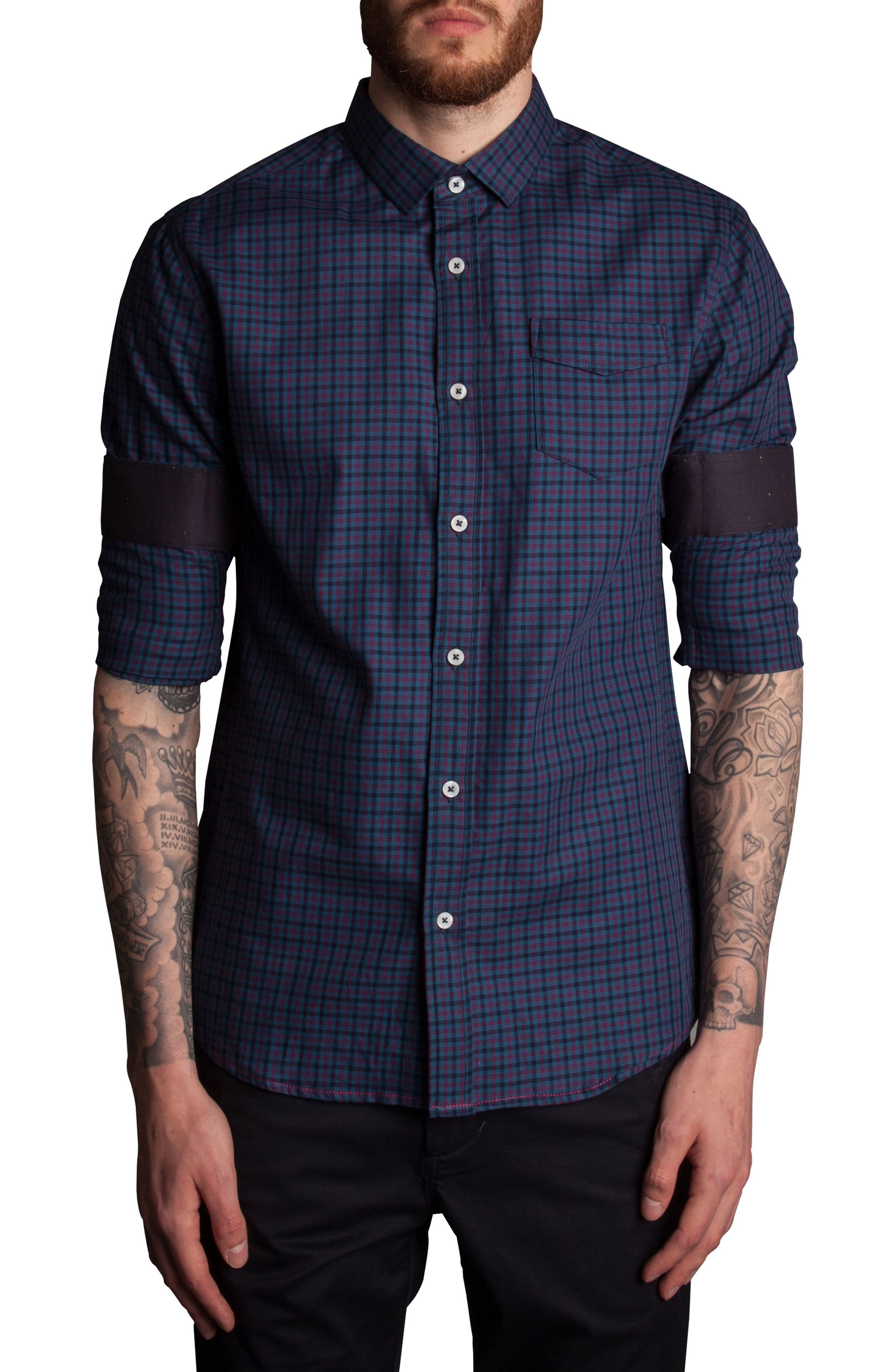 Inter Plaid Sport Shirt,                             Alternate thumbnail 3, color,                             Navy