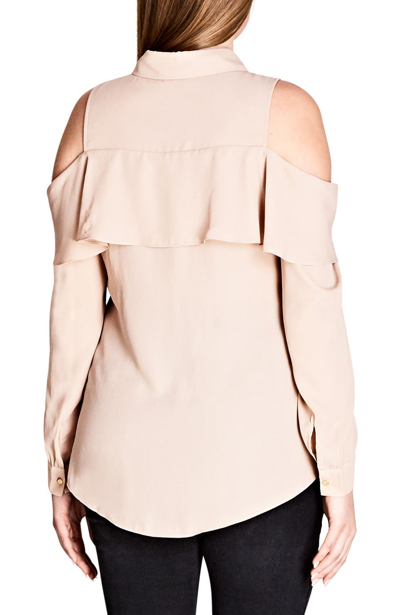 Alternate Image 2  - City Chic Frill Cold Shoulder Shirt (Plus Size)