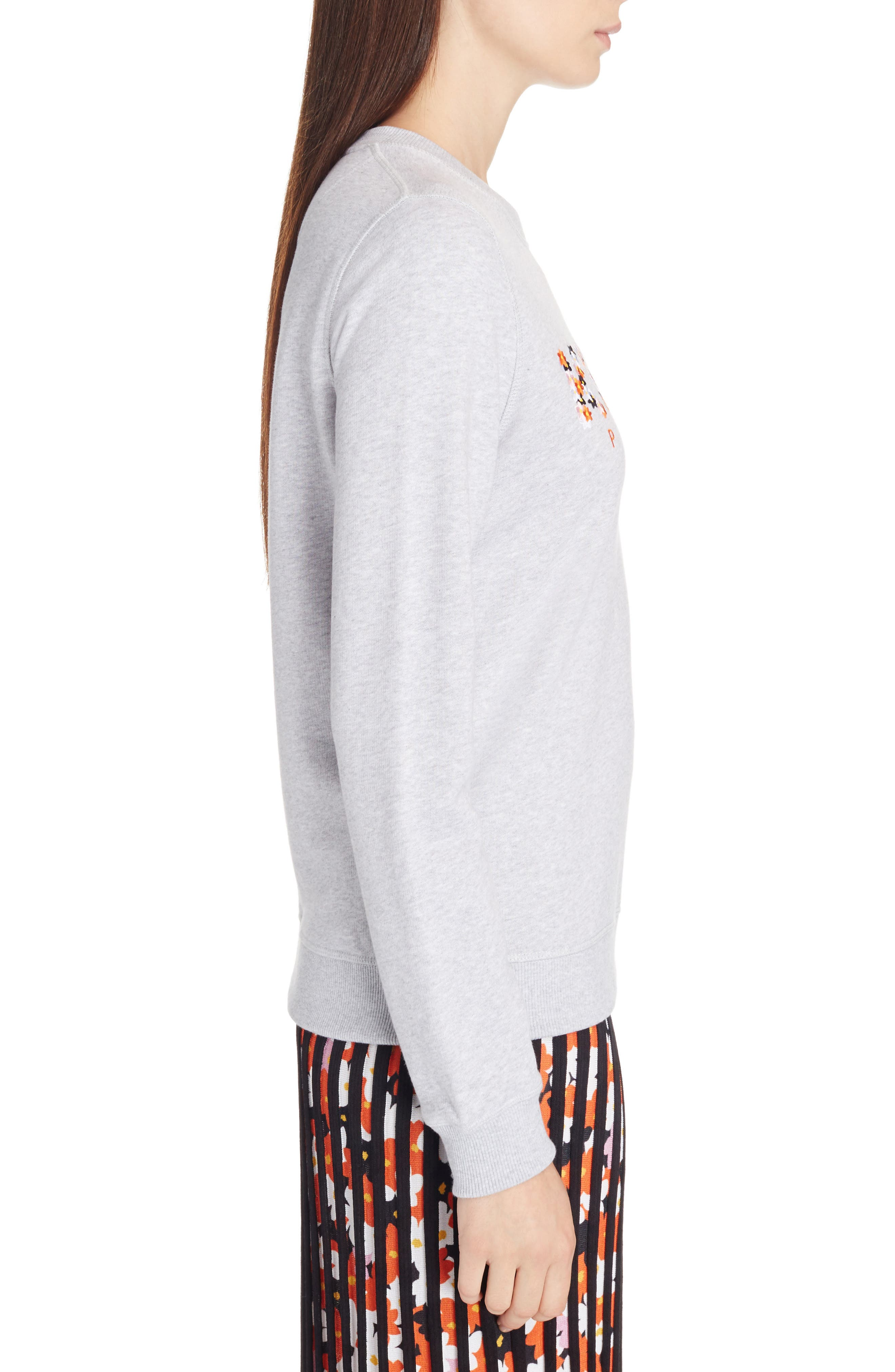 Classic Logo Embroidered Sweatshirt,                             Alternate thumbnail 4, color,                             Grey