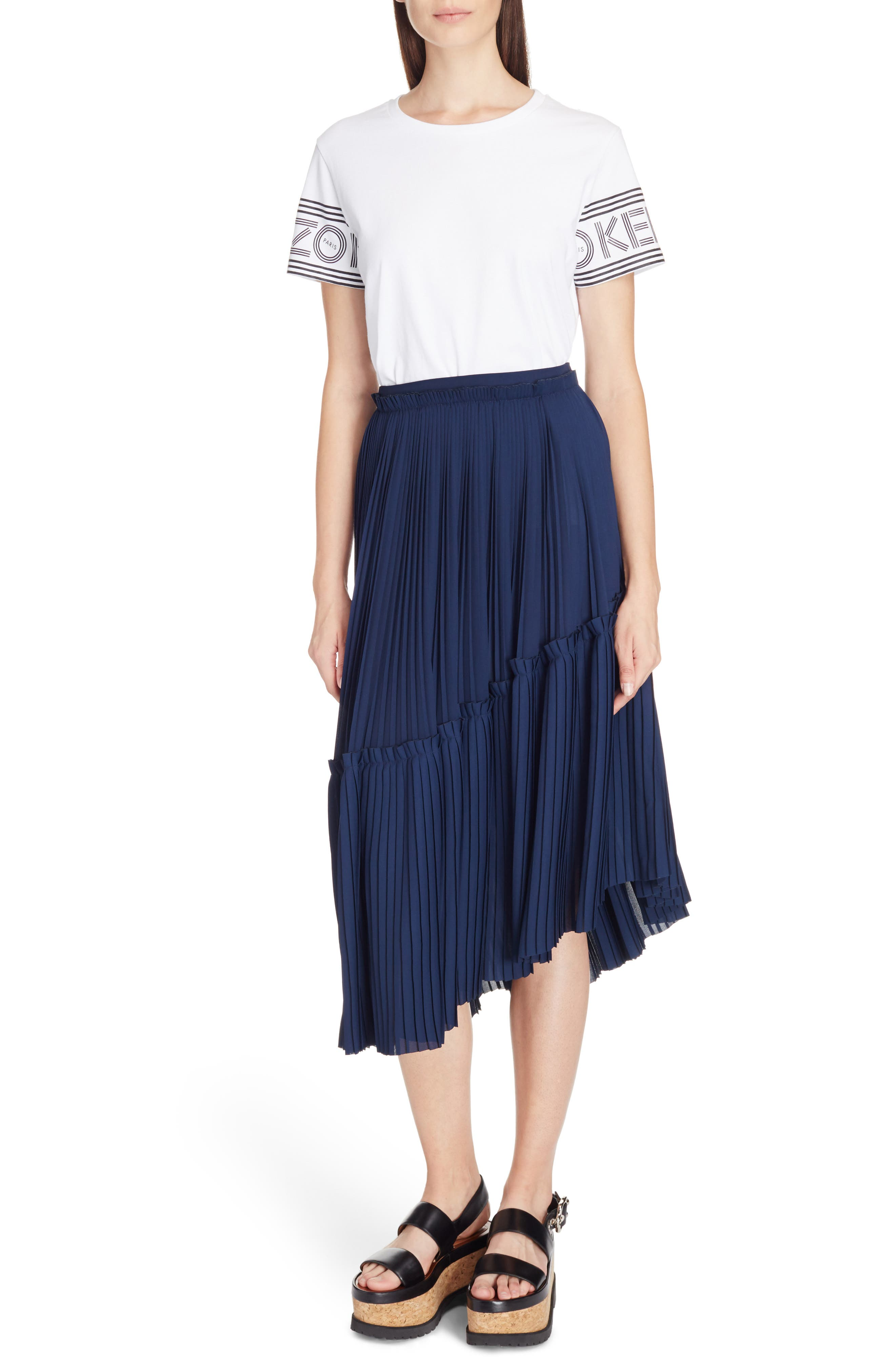Alternate Image 4  - KENZO Asymmetrical Pleated Midi Skirt