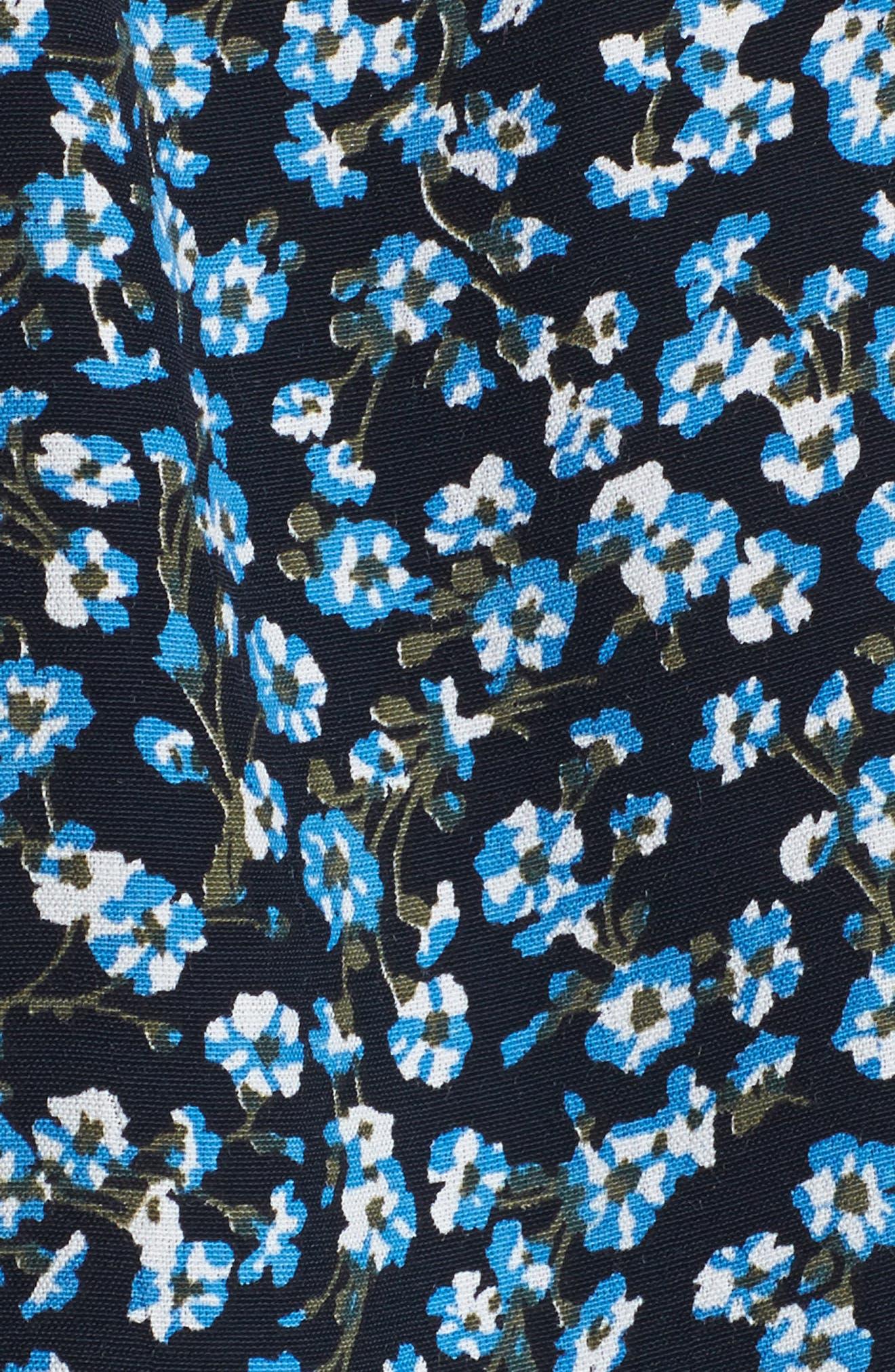 Oslo Floral Wrap Dress,                             Alternate thumbnail 5, color,                             Blossom Village Print - Blue