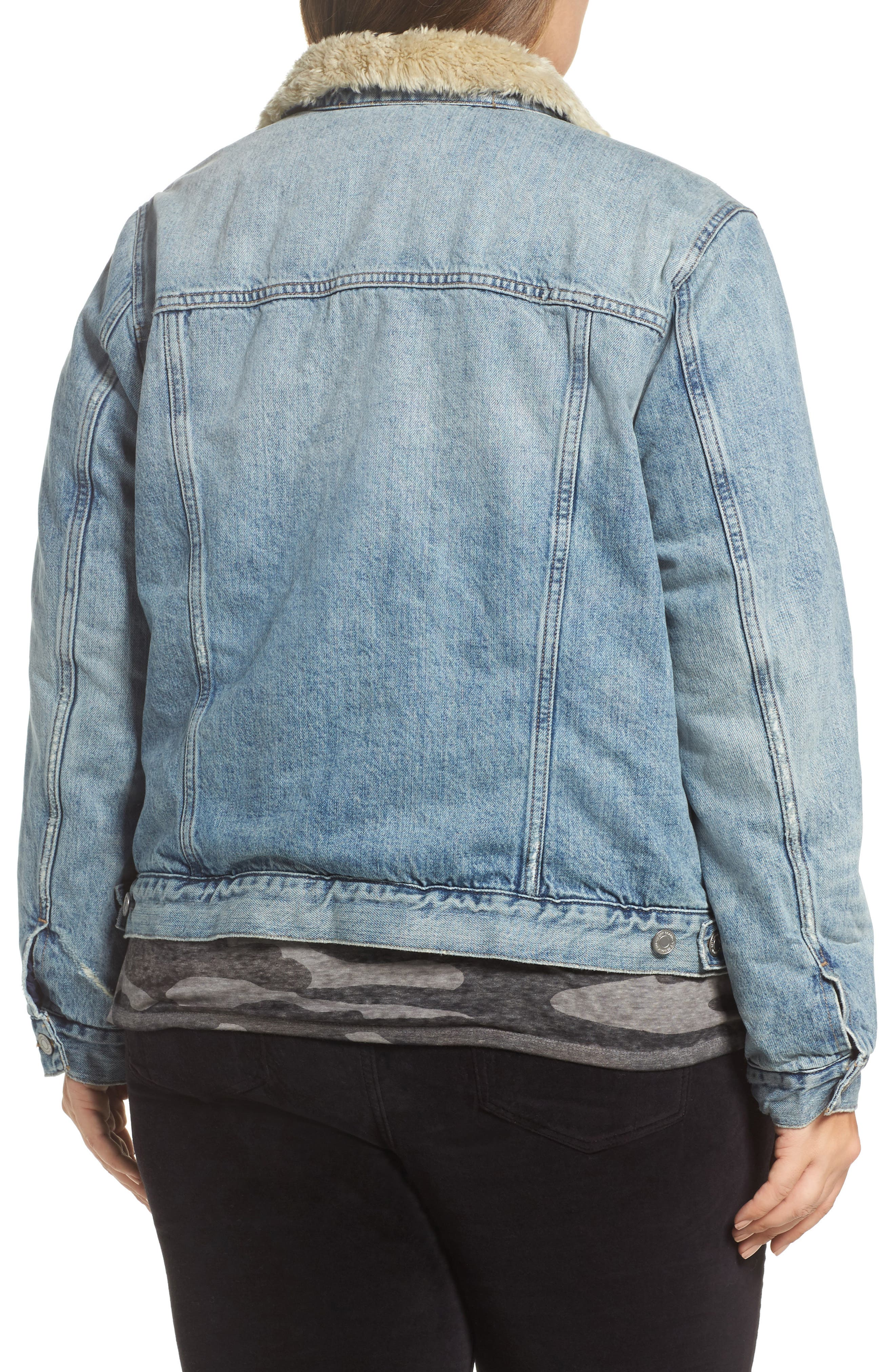 Alternate Image 2  - Lucky Brand Faux Fur Collar Trucker Jacket (Wellton) (Plus Size)