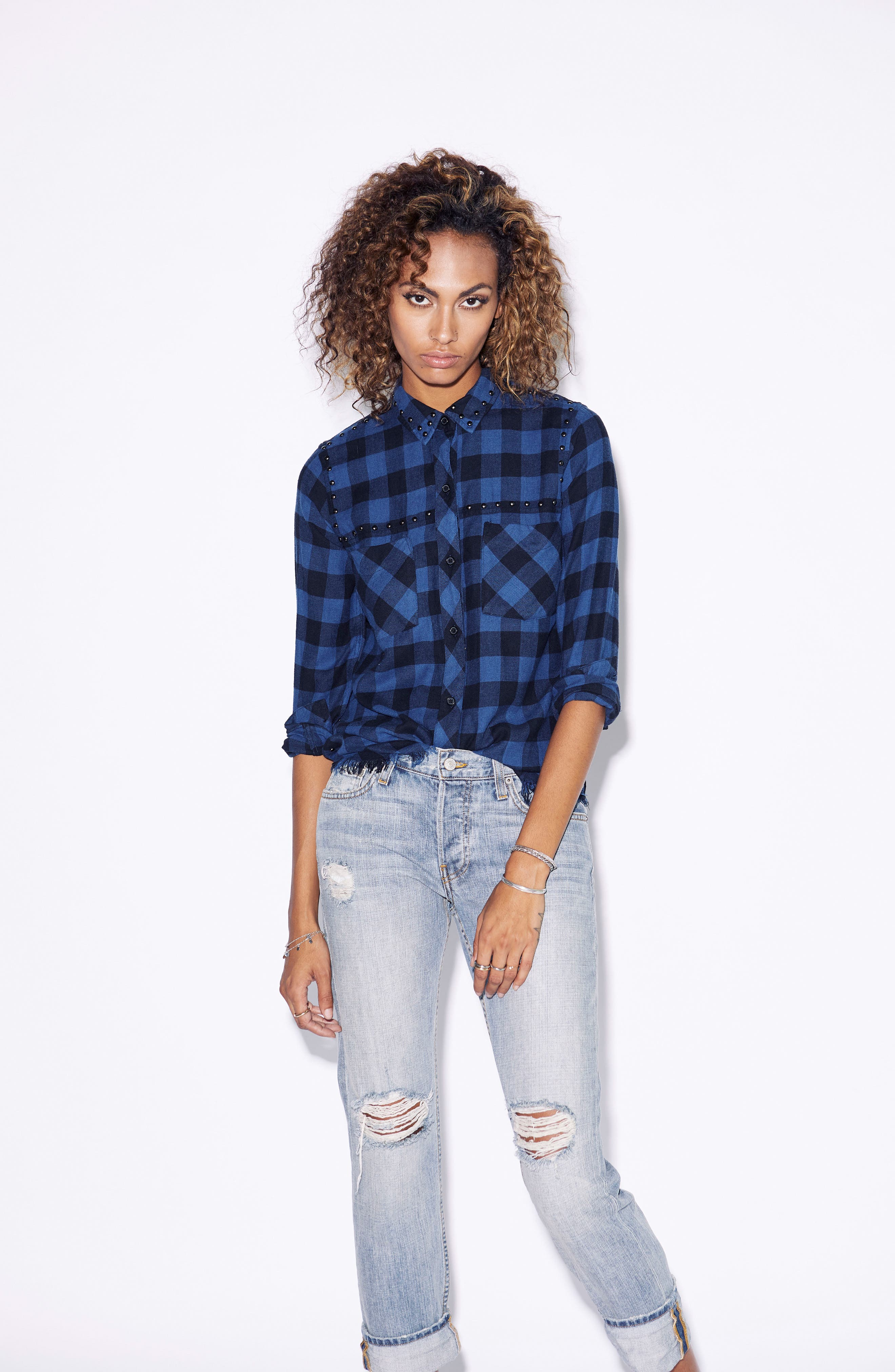 Rex Studded Flannel Shirt,                             Alternate thumbnail 2, color,                             Blue/ Black Check