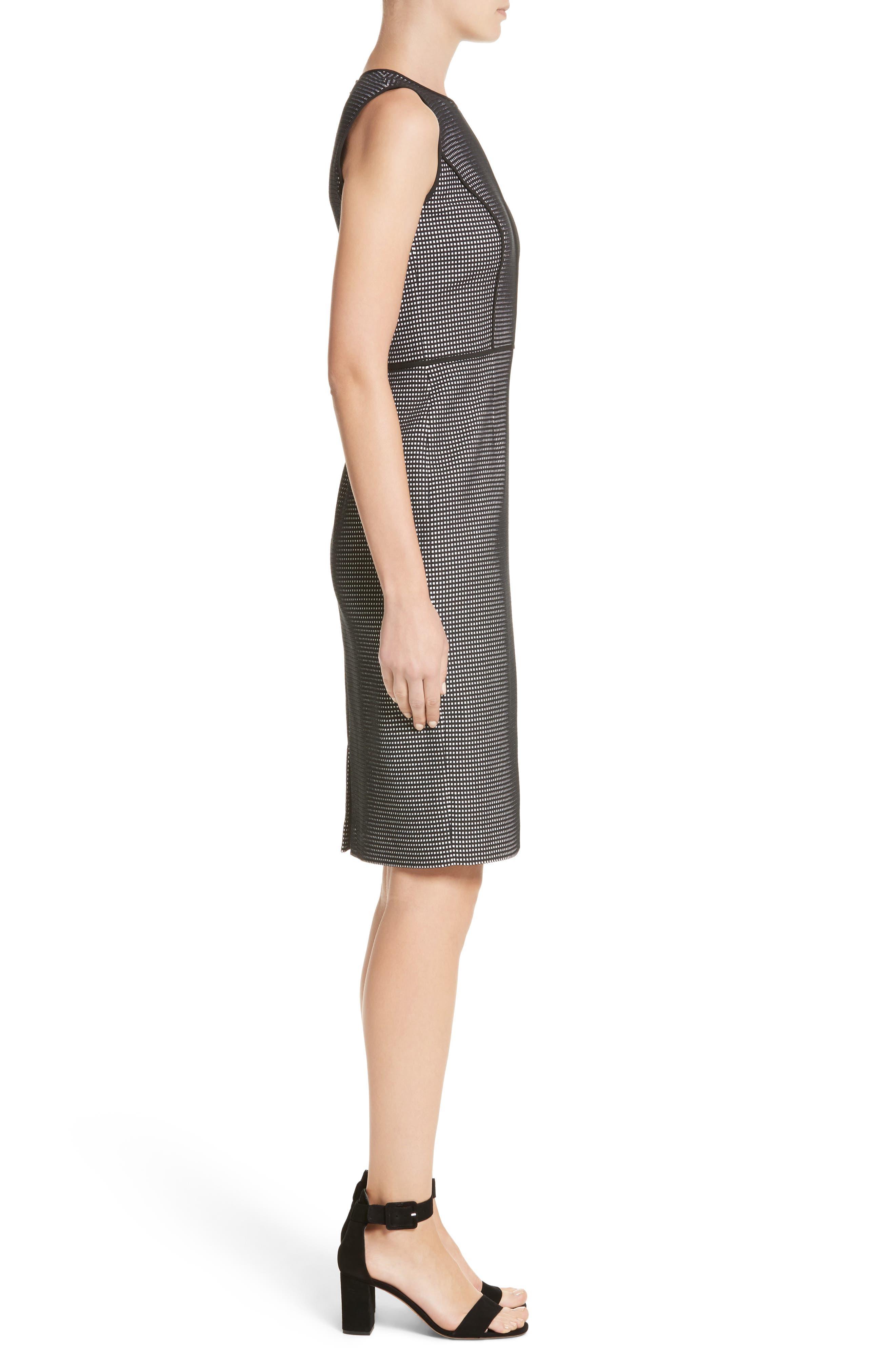 Bree Check Sheath Dress,                             Alternate thumbnail 3, color,                             Black Multi