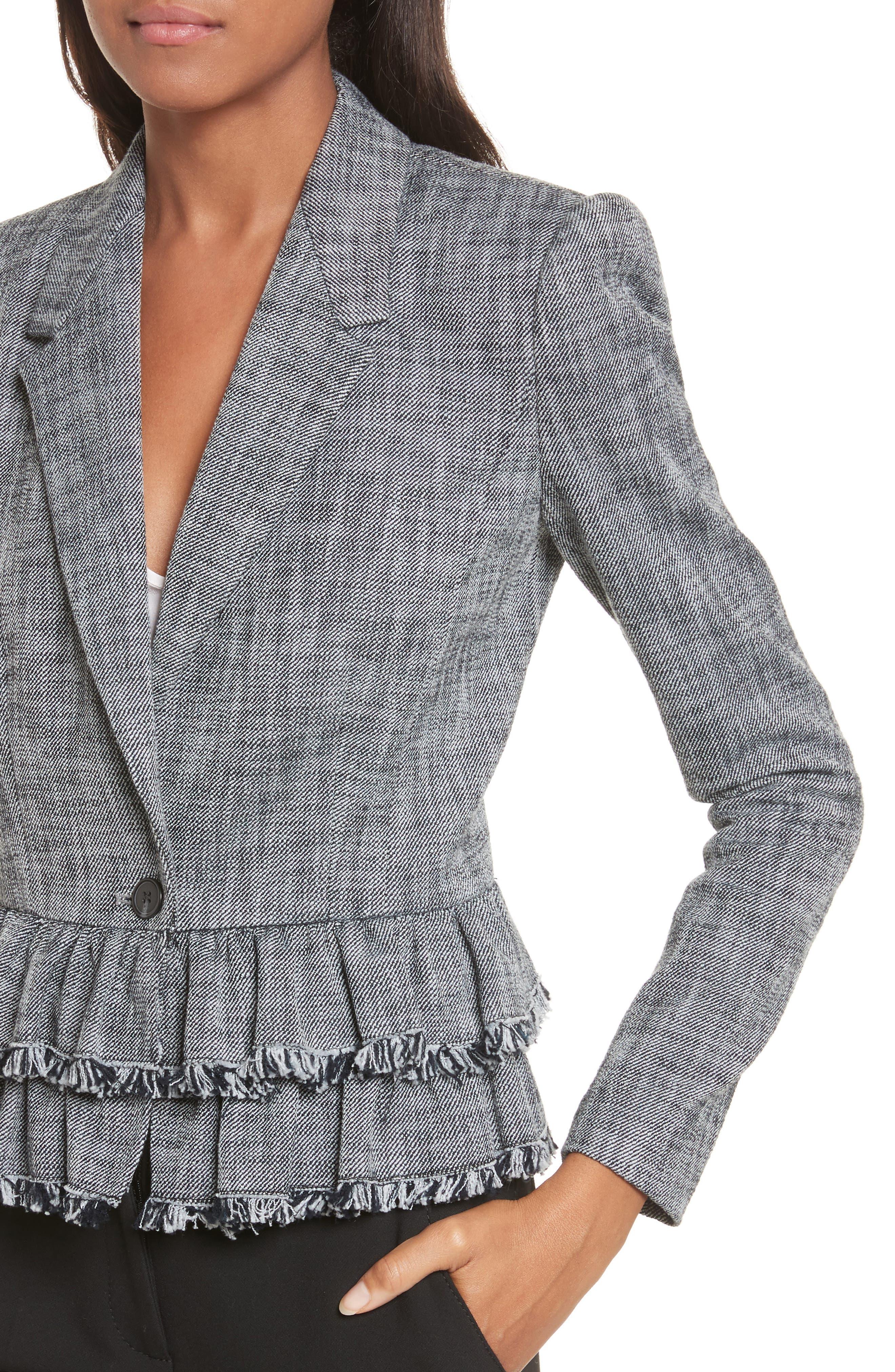 Alternate Image 4  - Rebecca Taylor Slub Suiting Jacket