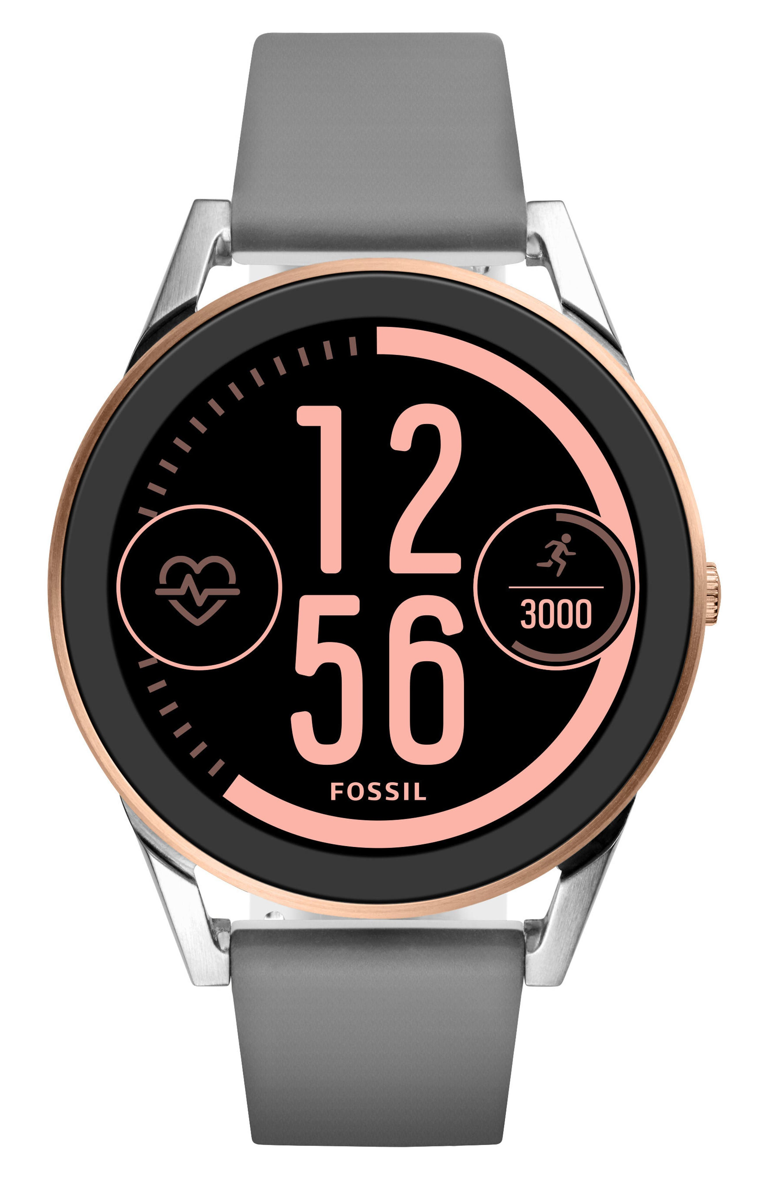 Control Gen 3 Silicone Strap Smart Watch, 45mm,                             Main thumbnail 1, color,                             Grey/ Silver/ Rose Gold