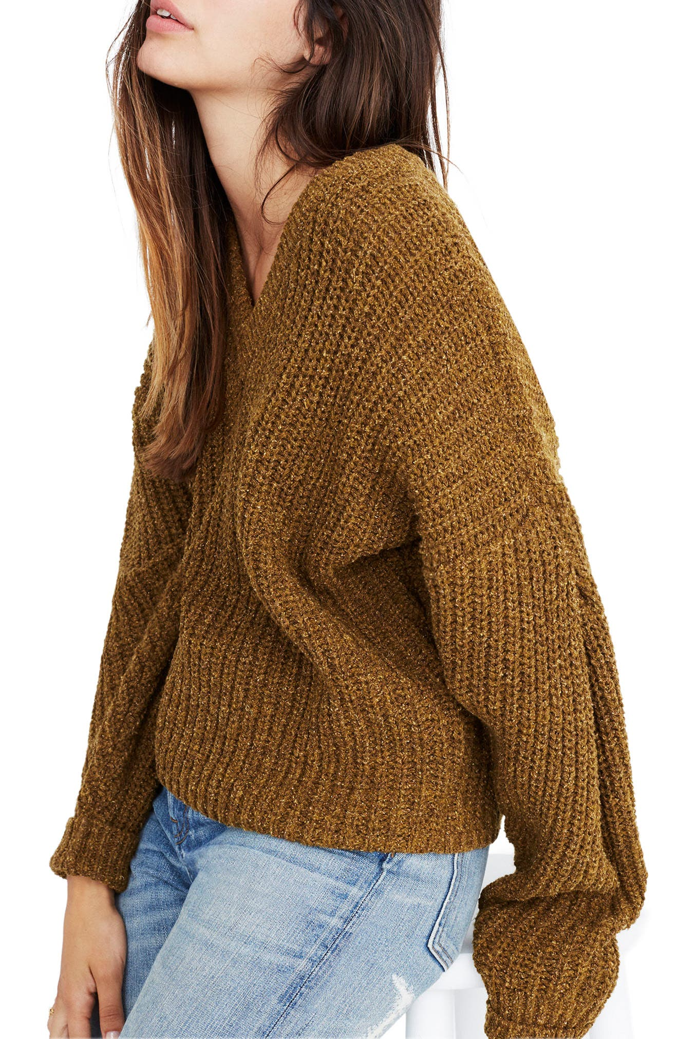 Pleat Sleeve Pullover Sweater,                             Main thumbnail 1, color,                             Ripened Olive
