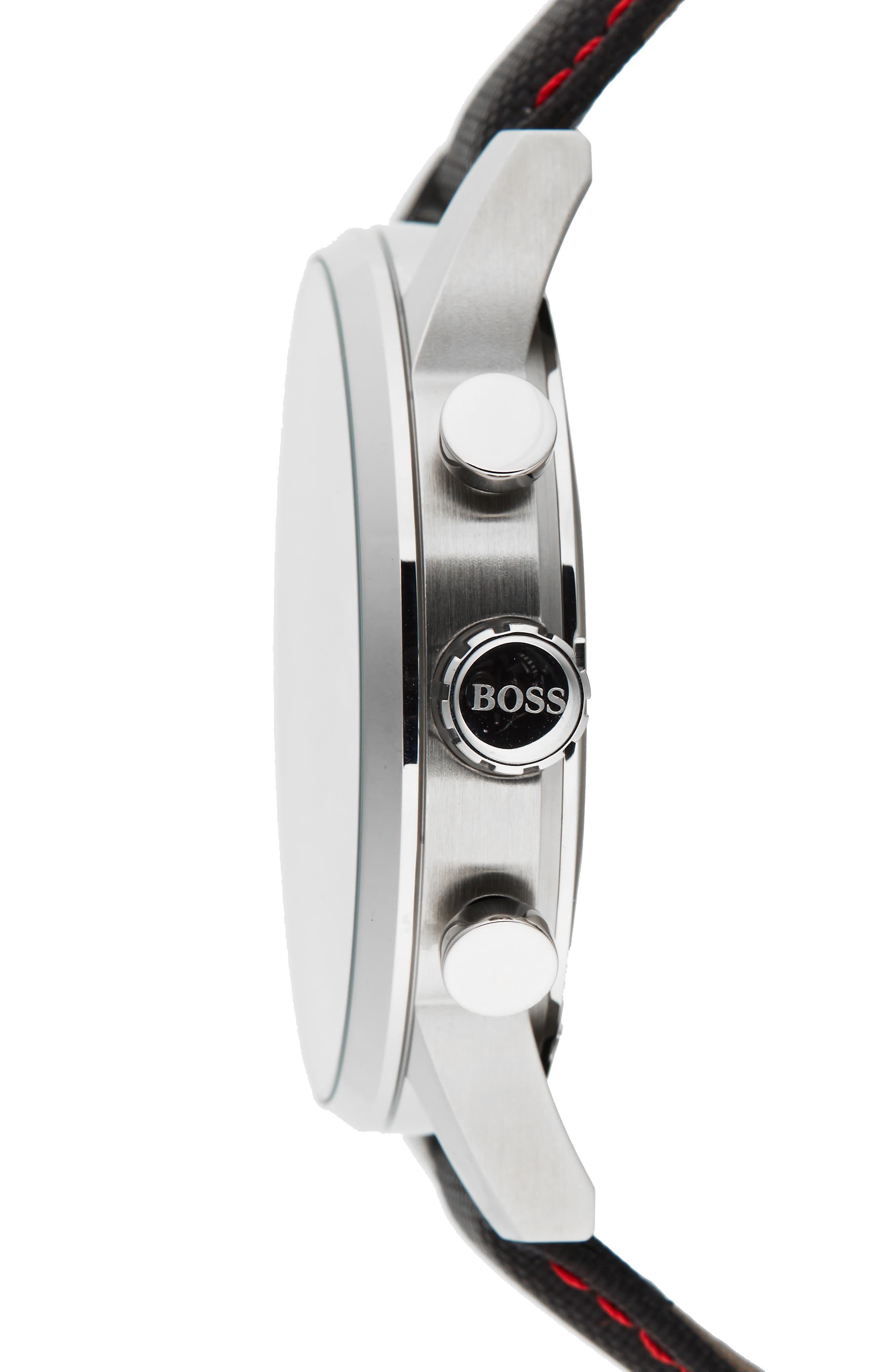 Navigator Chronograph Leather Strap Watch, 44mm,                             Alternate thumbnail 3, color,                             Black/ Black