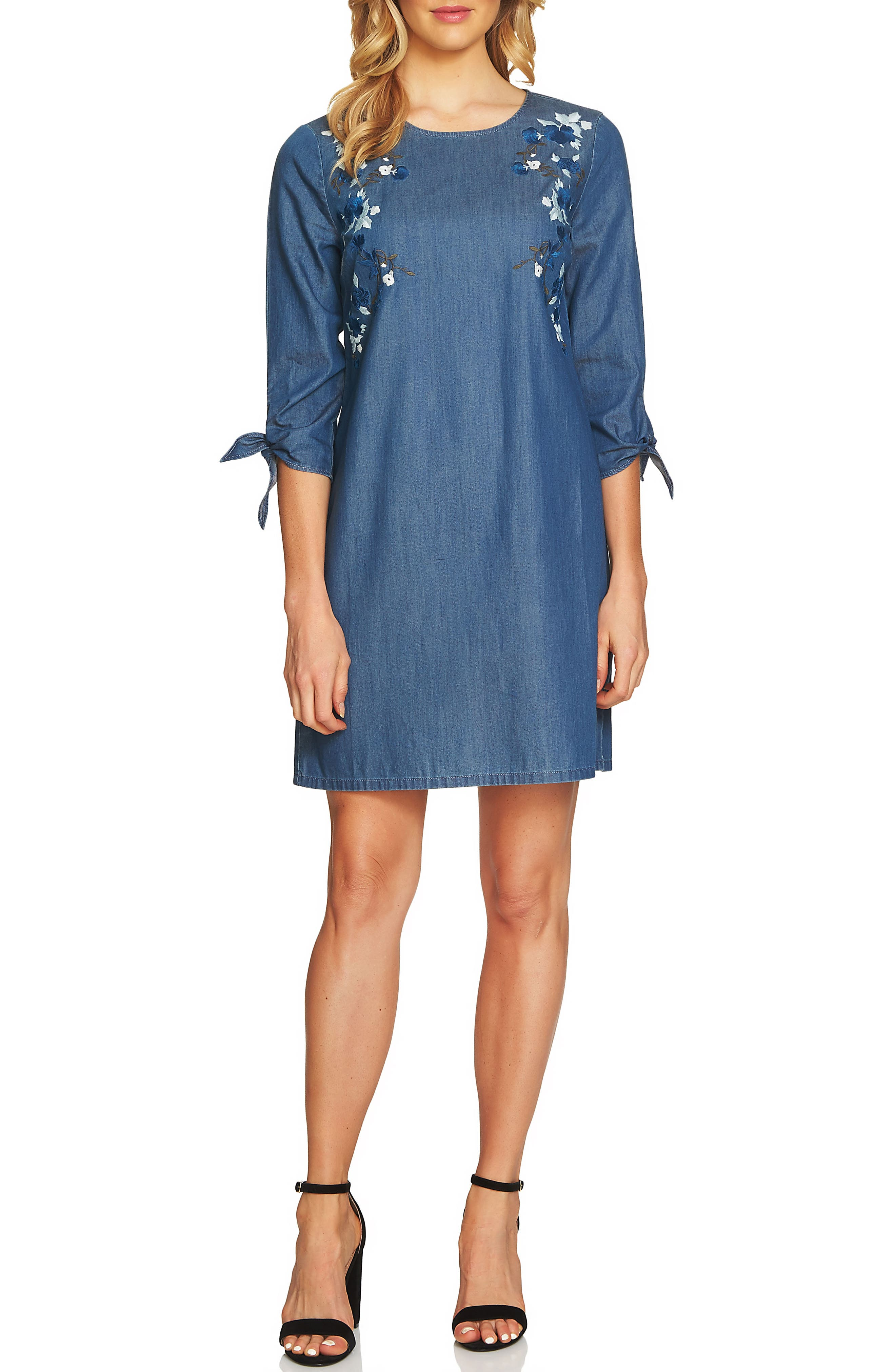 Floral Embroidered Denim Tie Sleeve Dress,                             Main thumbnail 1, color,                             Authentic