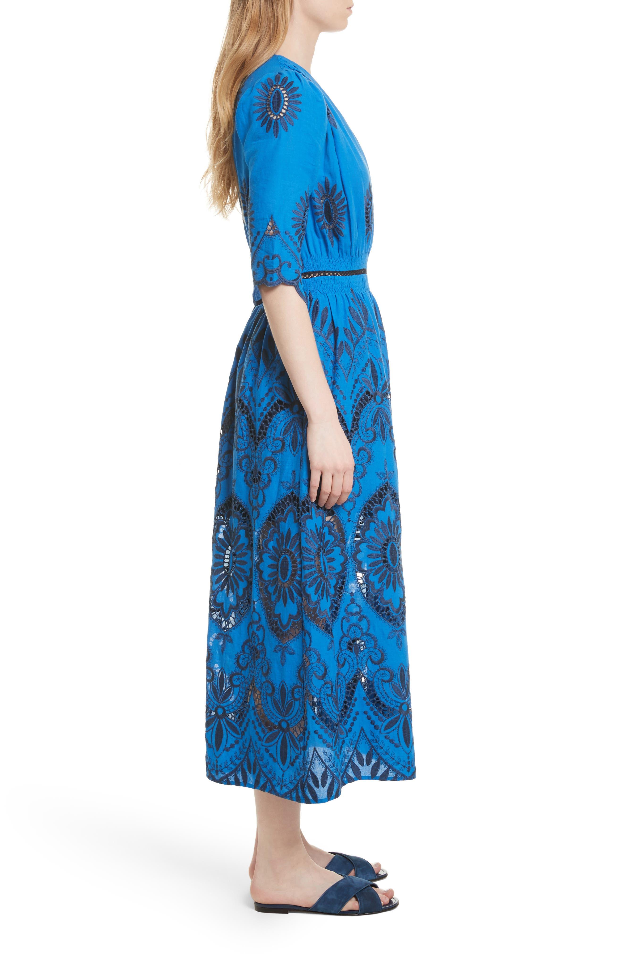 Cotton Eyelet Maxi Dress,                             Alternate thumbnail 3, color,                             Blue/ Navy