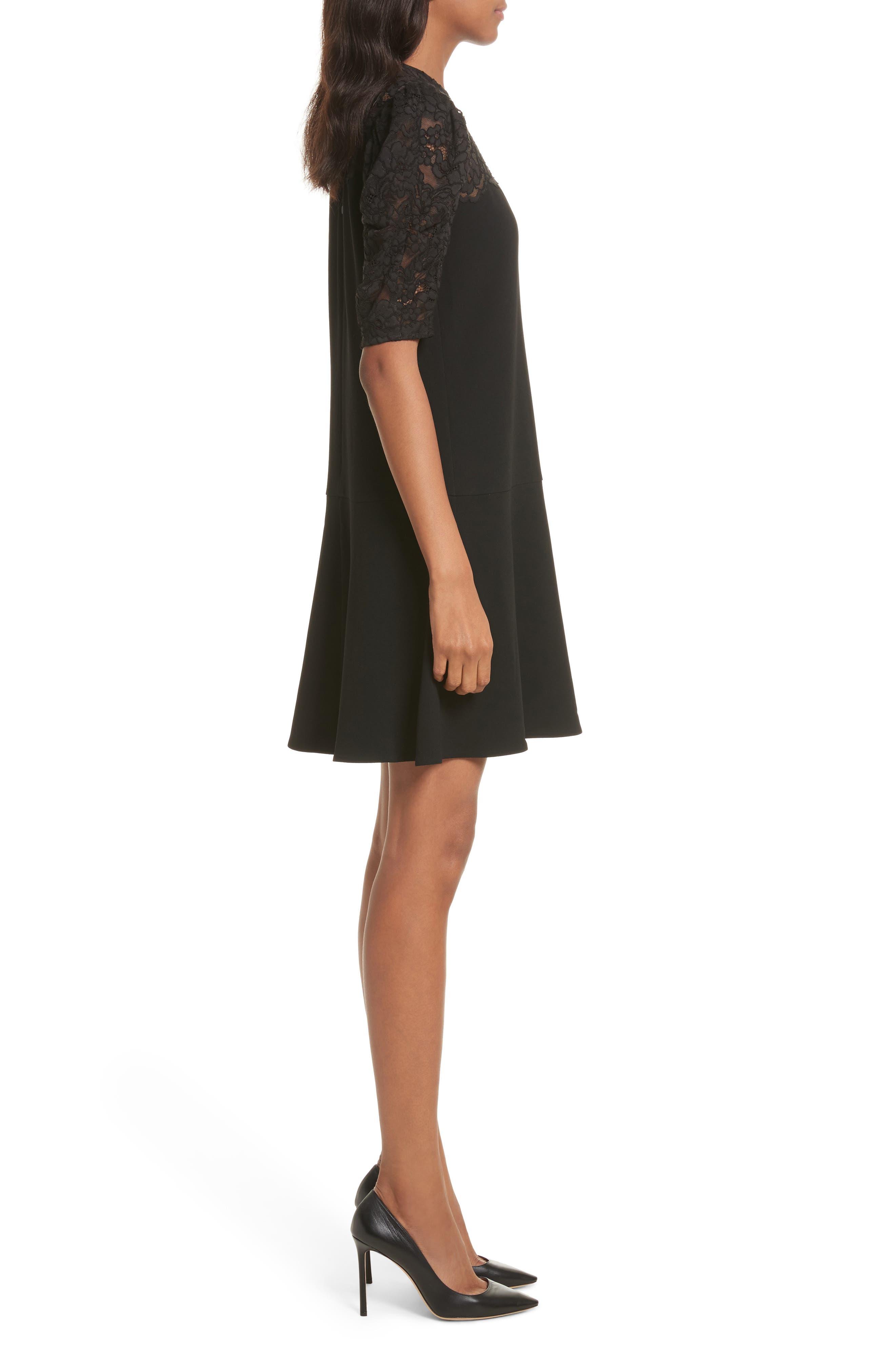 Lace & Crepe A-Line Dress,                             Alternate thumbnail 3, color,                             Black