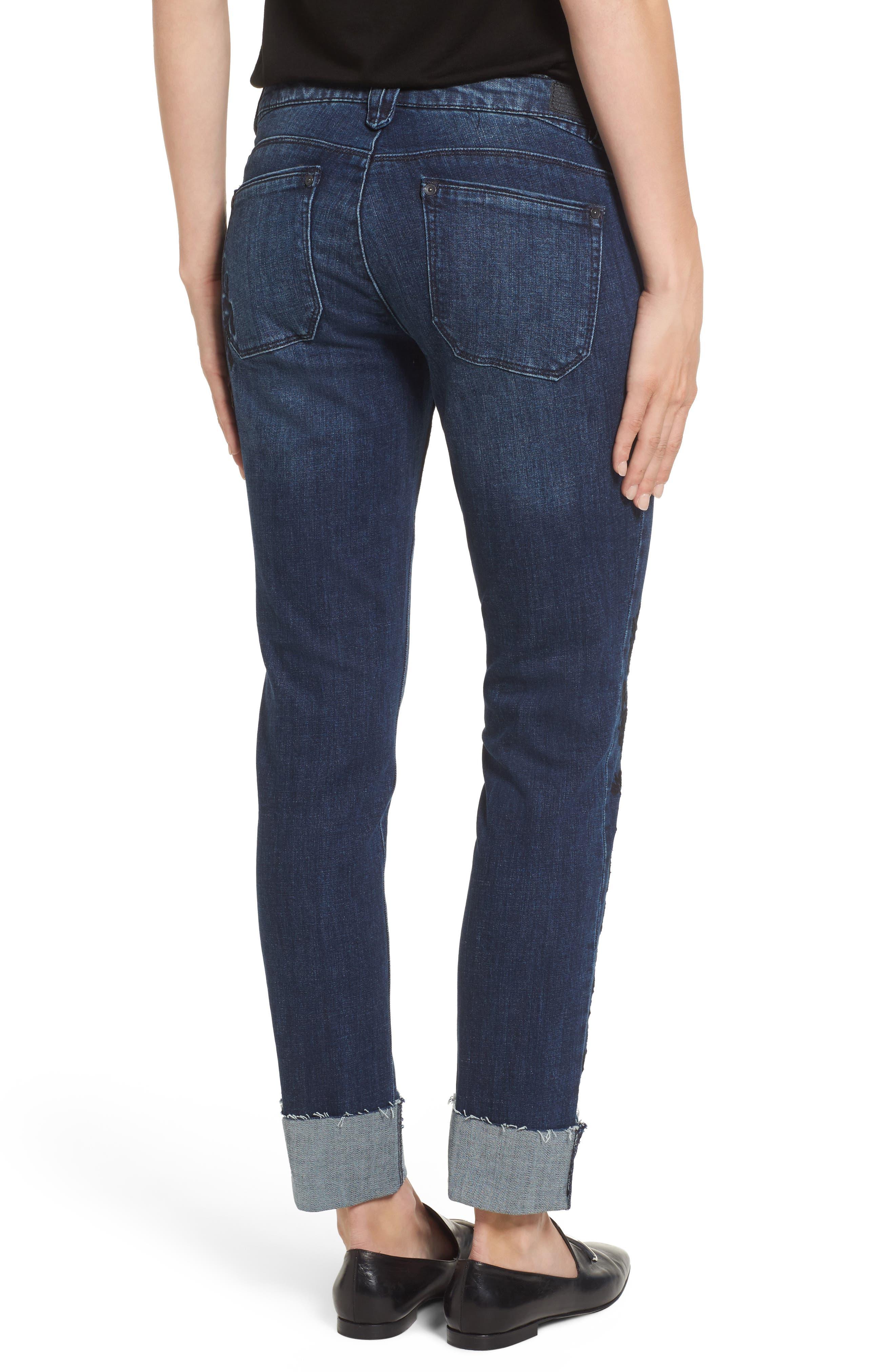 Flexellent Embroidered Boyfriend Jeans,                             Alternate thumbnail 2, color,                             Blue
