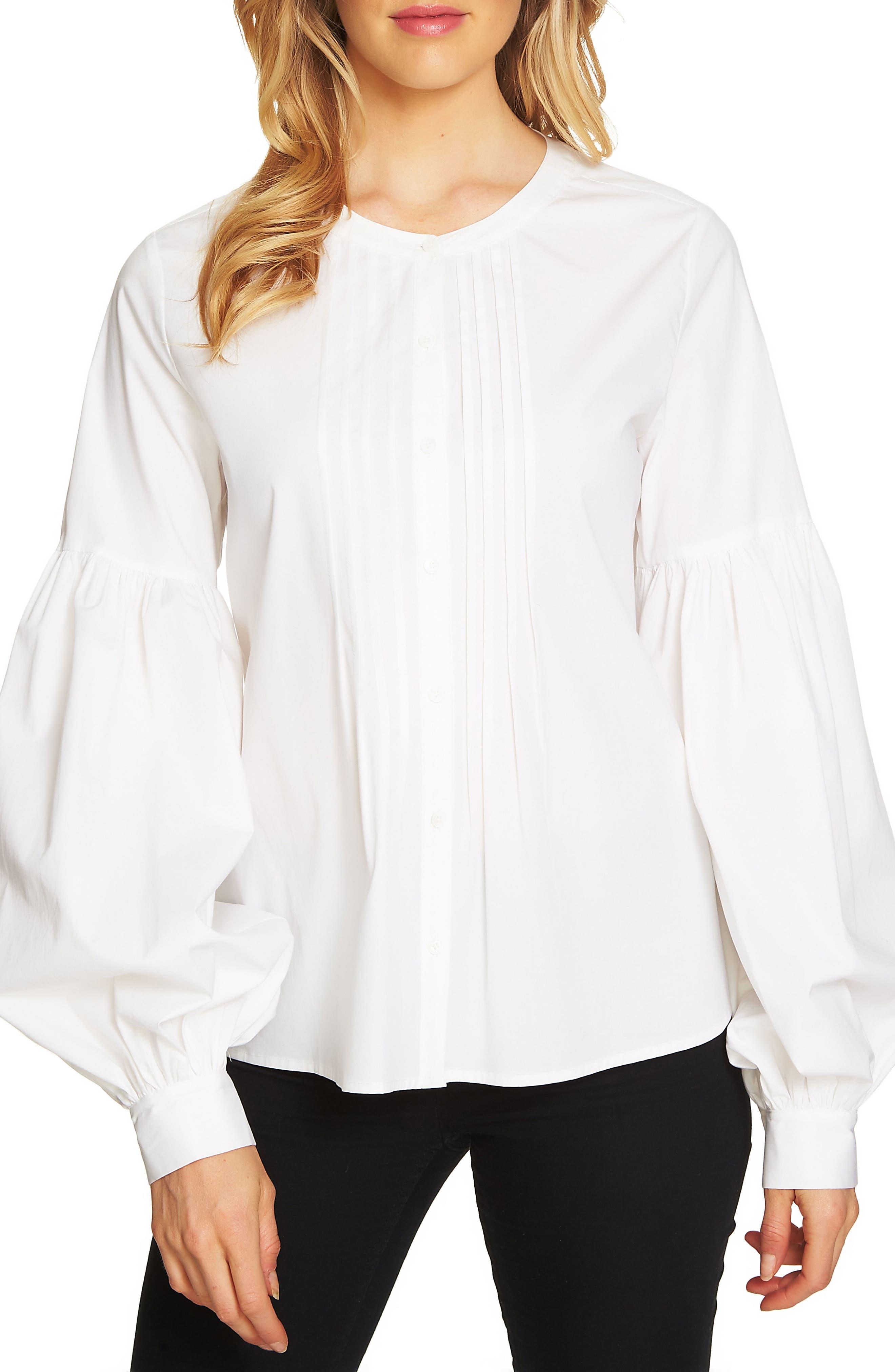 Blouson Sleeve Pintuck Blouse,                             Main thumbnail 1, color,                             Ultra White