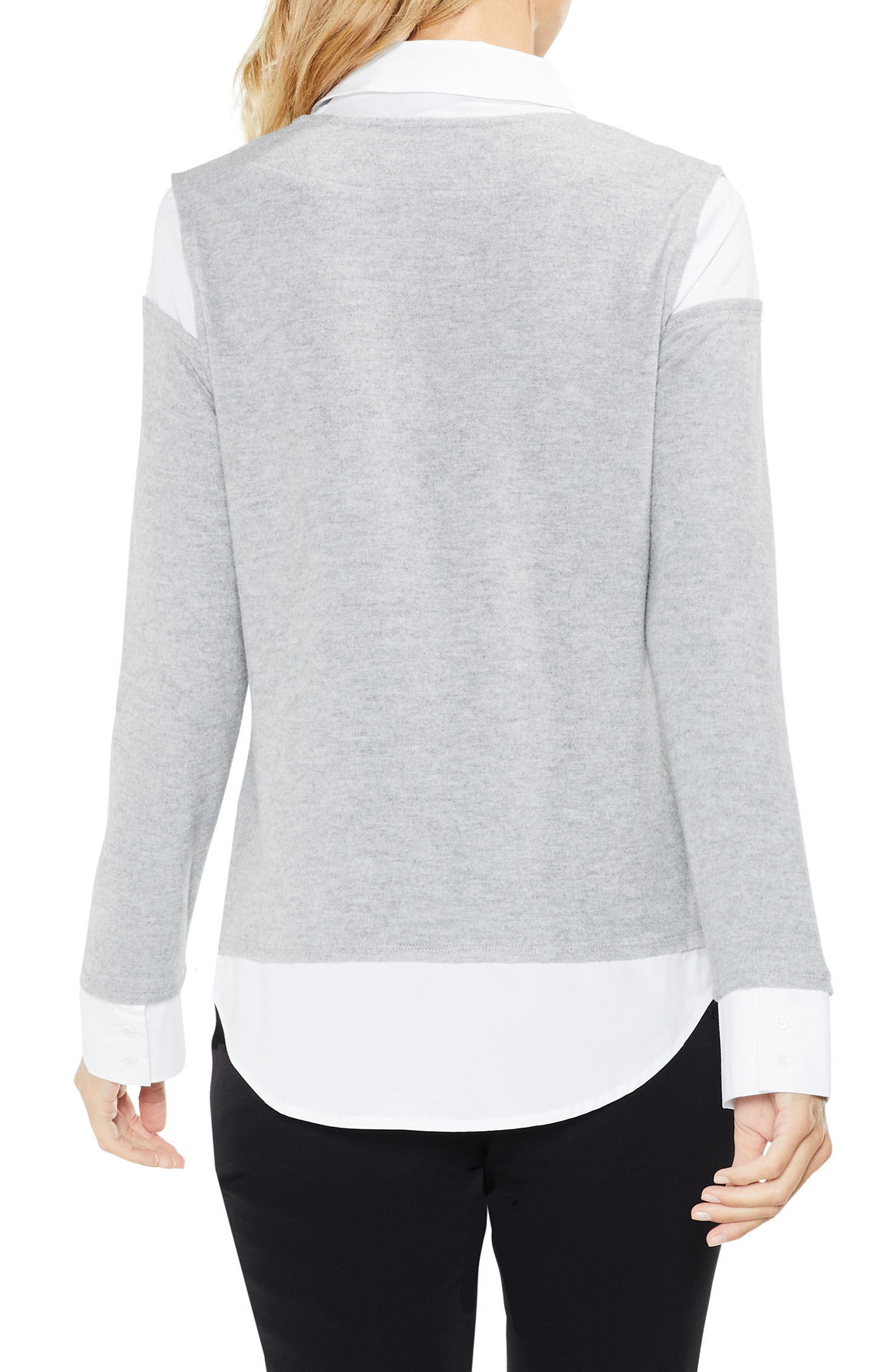 Alternate Image 2  - Vince Camuto Mix Media Brushed Jersey Top