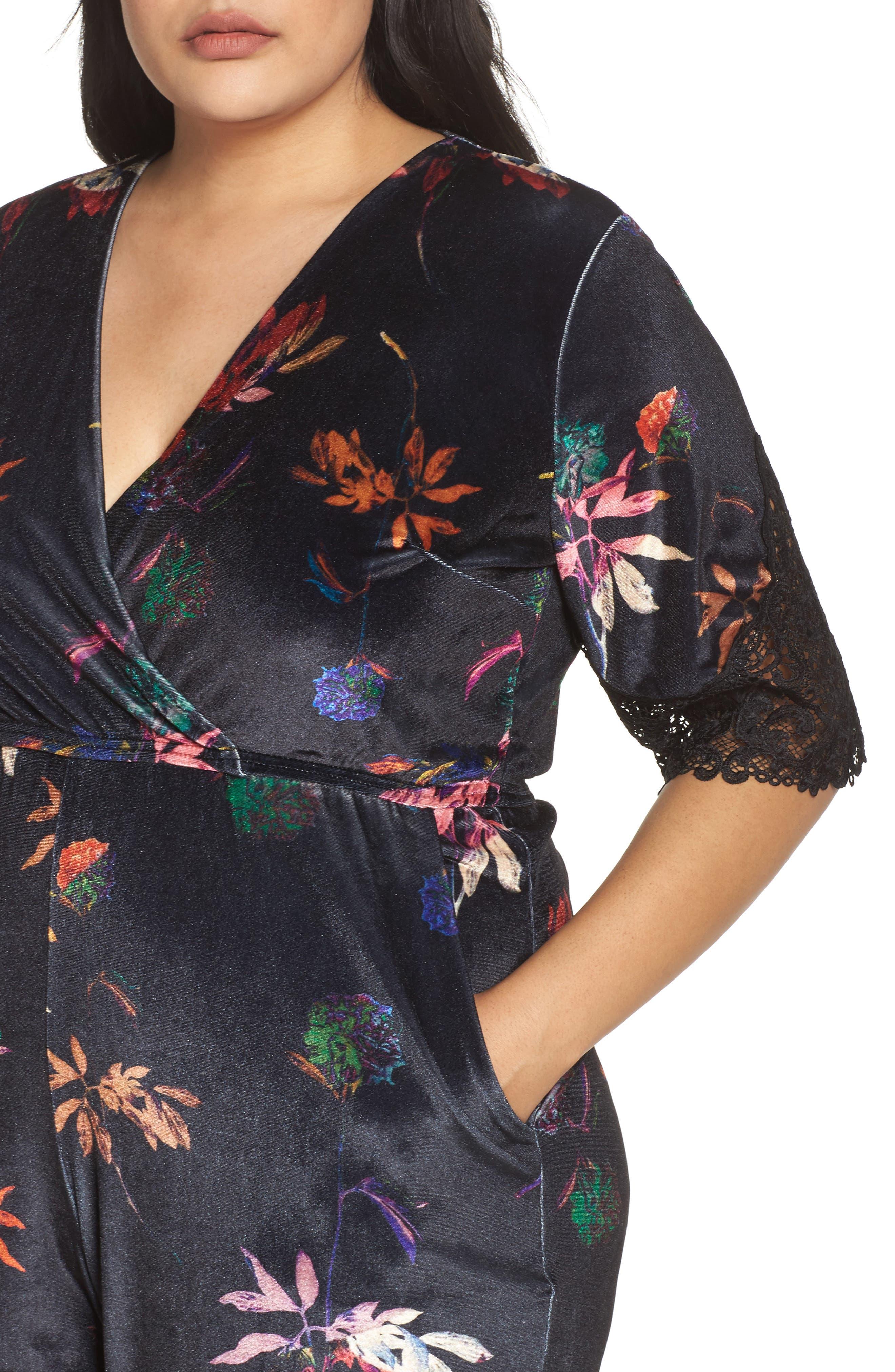 Alternate Image 4  - LOST INK Velvet Floral Jumpsuit (Plus Size)