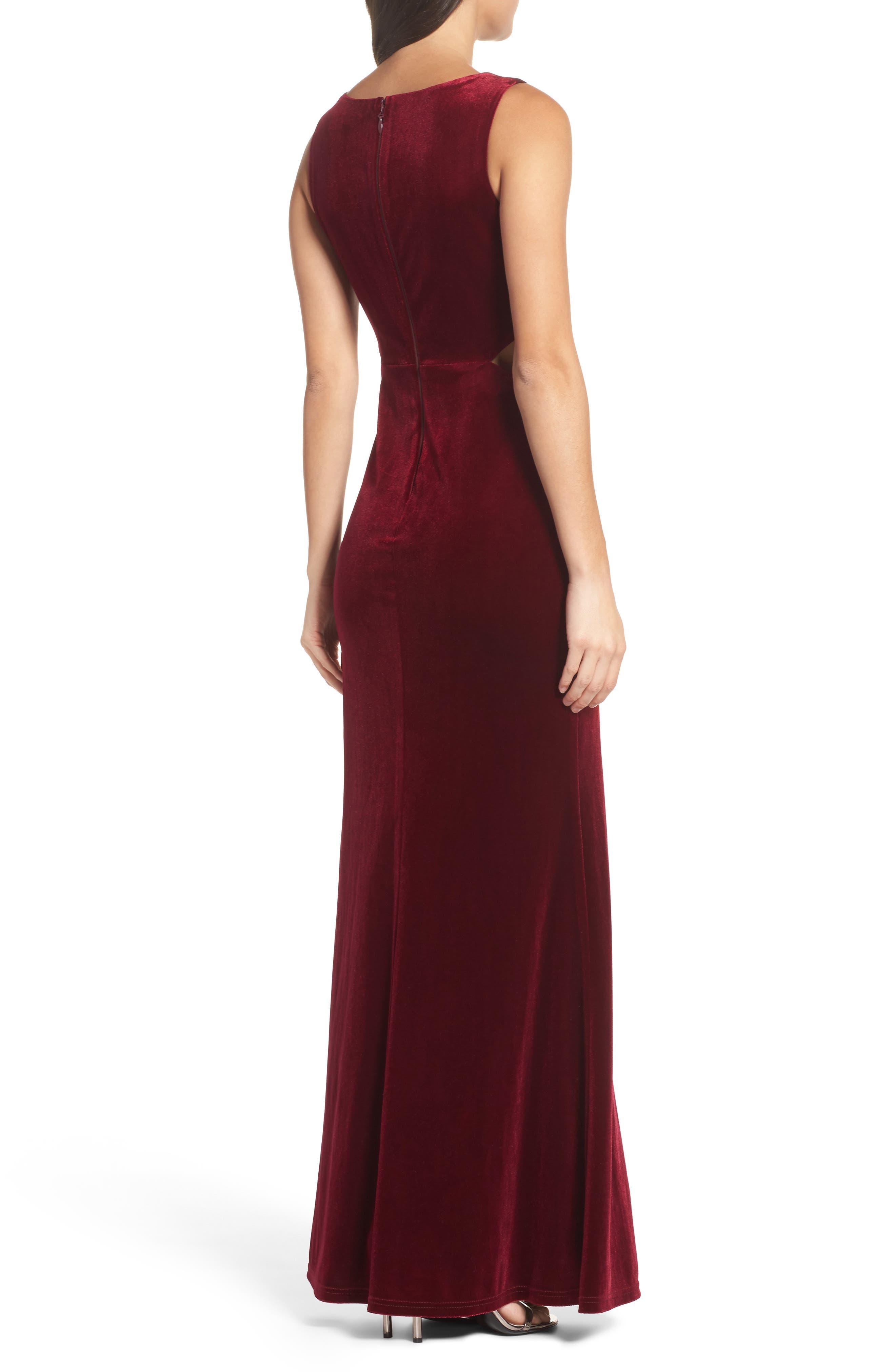 Reach Out Velvet Maxi Dress,                             Alternate thumbnail 2, color,                             Burgundy
