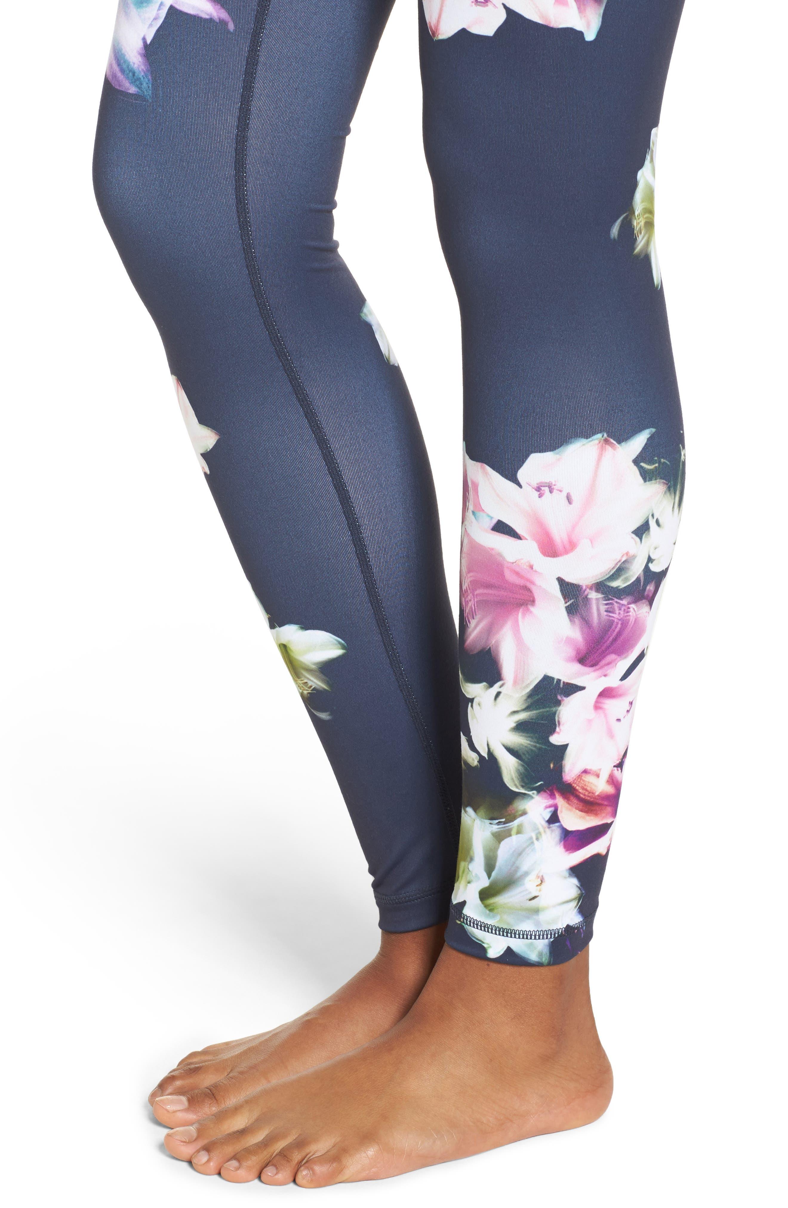 Pure Floral Ink High Waist Leggings,                             Alternate thumbnail 4, color,                             Grey Slate Floral Engineer Prt