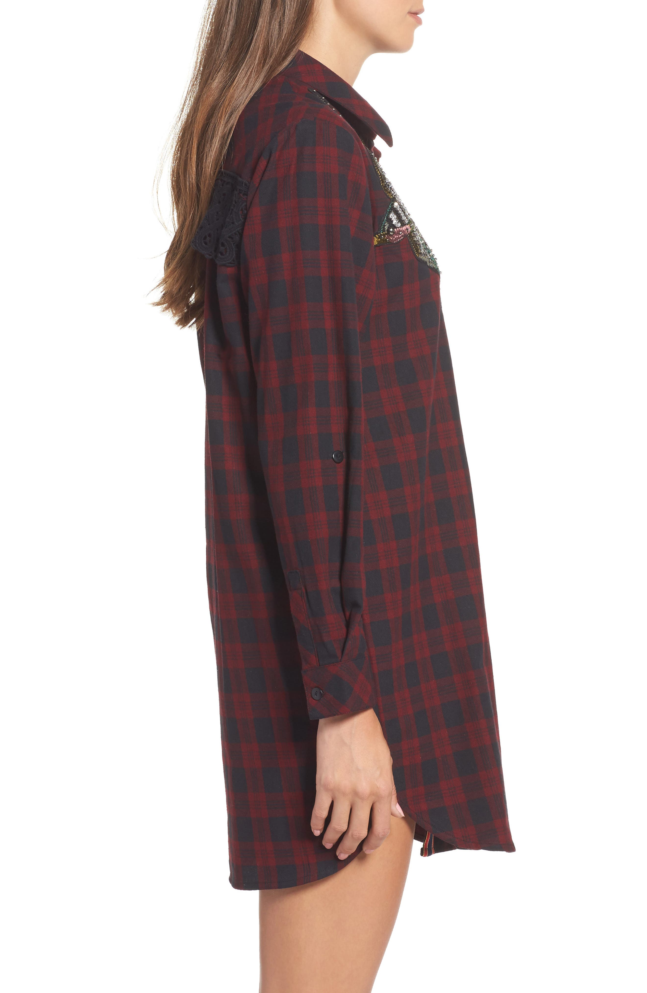 Alternate Image 3  - Sam Edelman Patch Embellished Plaid Sleep Shirt