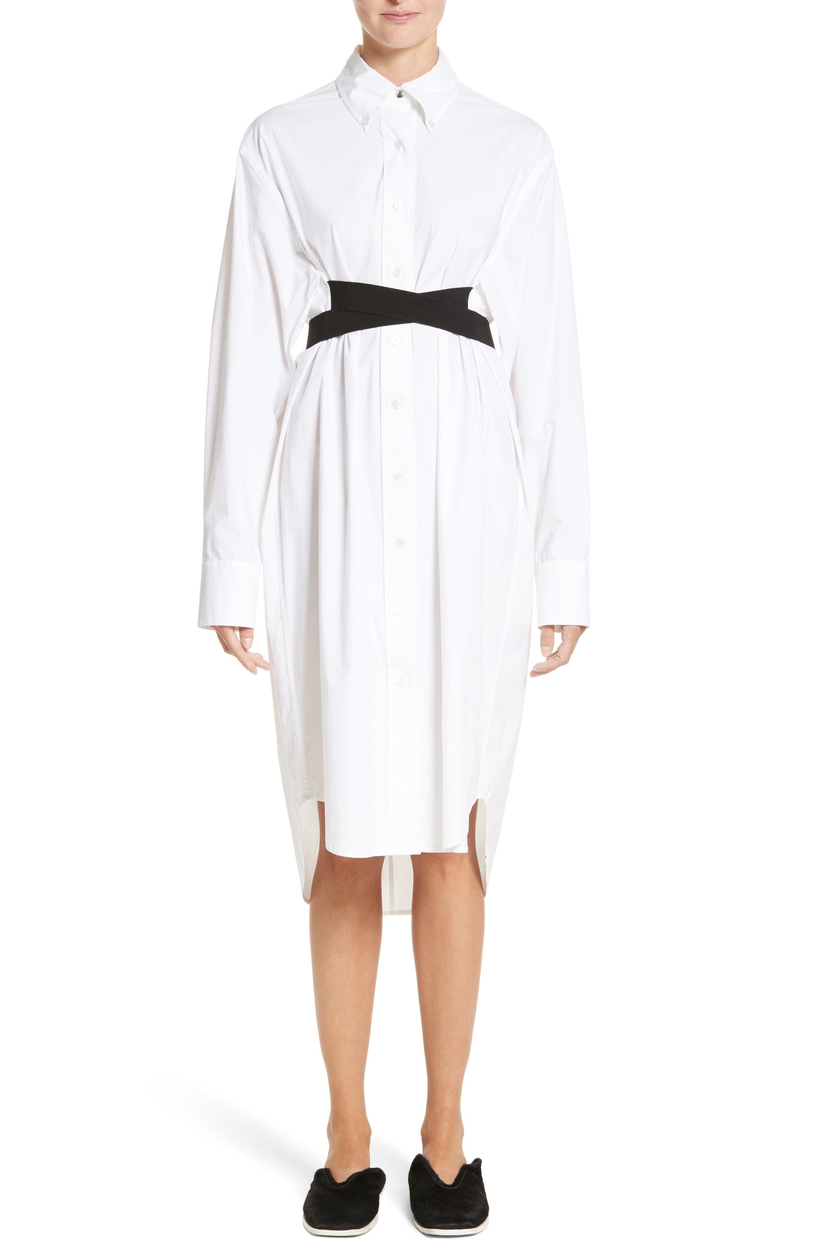 PSWL Belted Poplin Shirtdress,                             Main thumbnail 1, color,                             Optic White/ Black