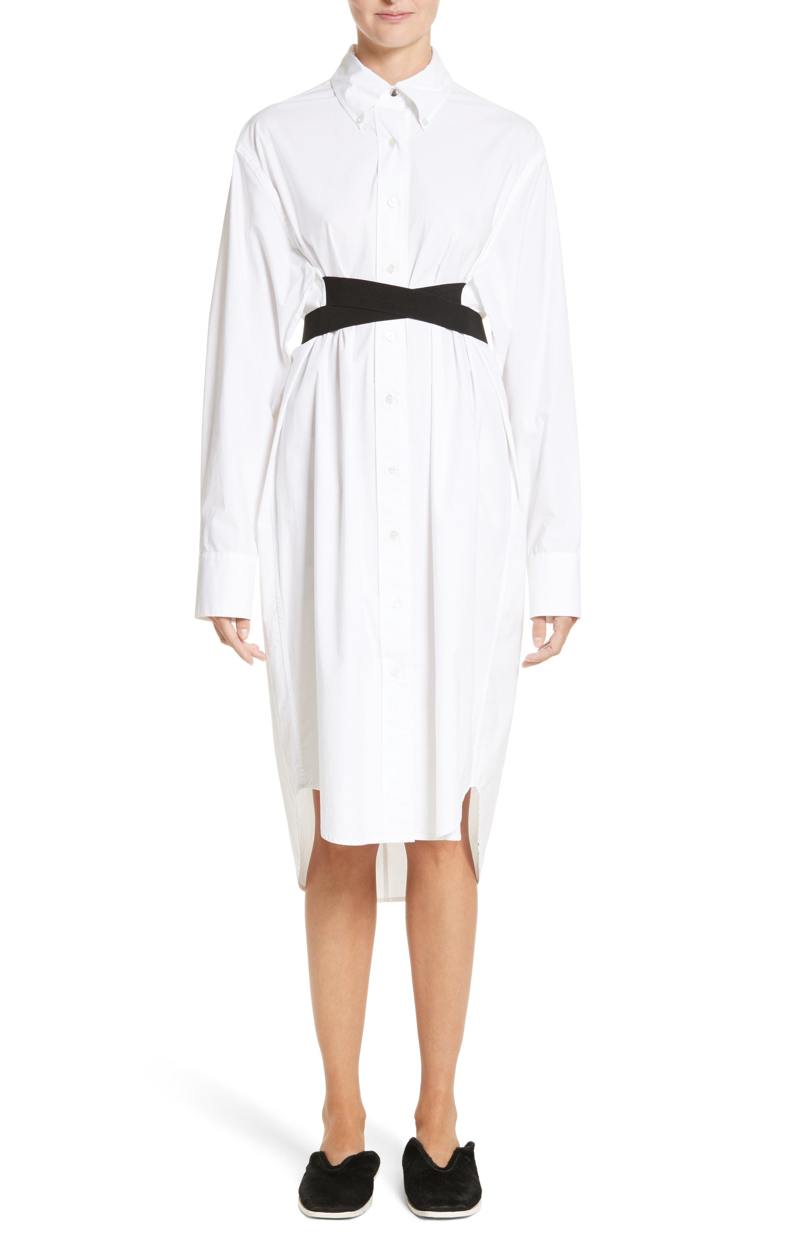 PSWL Belted Poplin Shirtdress,                         Main,                         color, Optic White/ Black