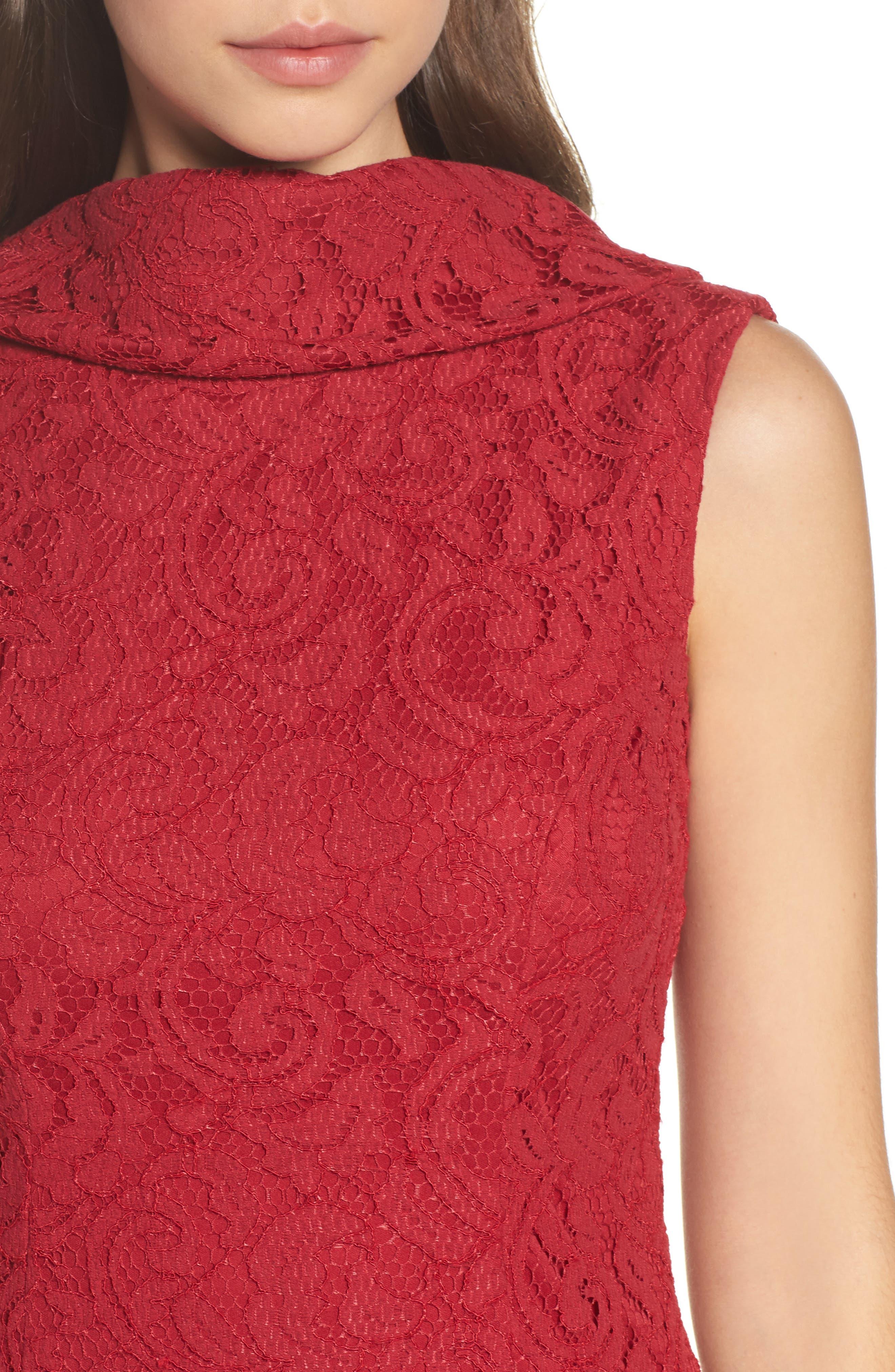 Lace Sheath Dress,                             Alternate thumbnail 4, color,                             Cherry