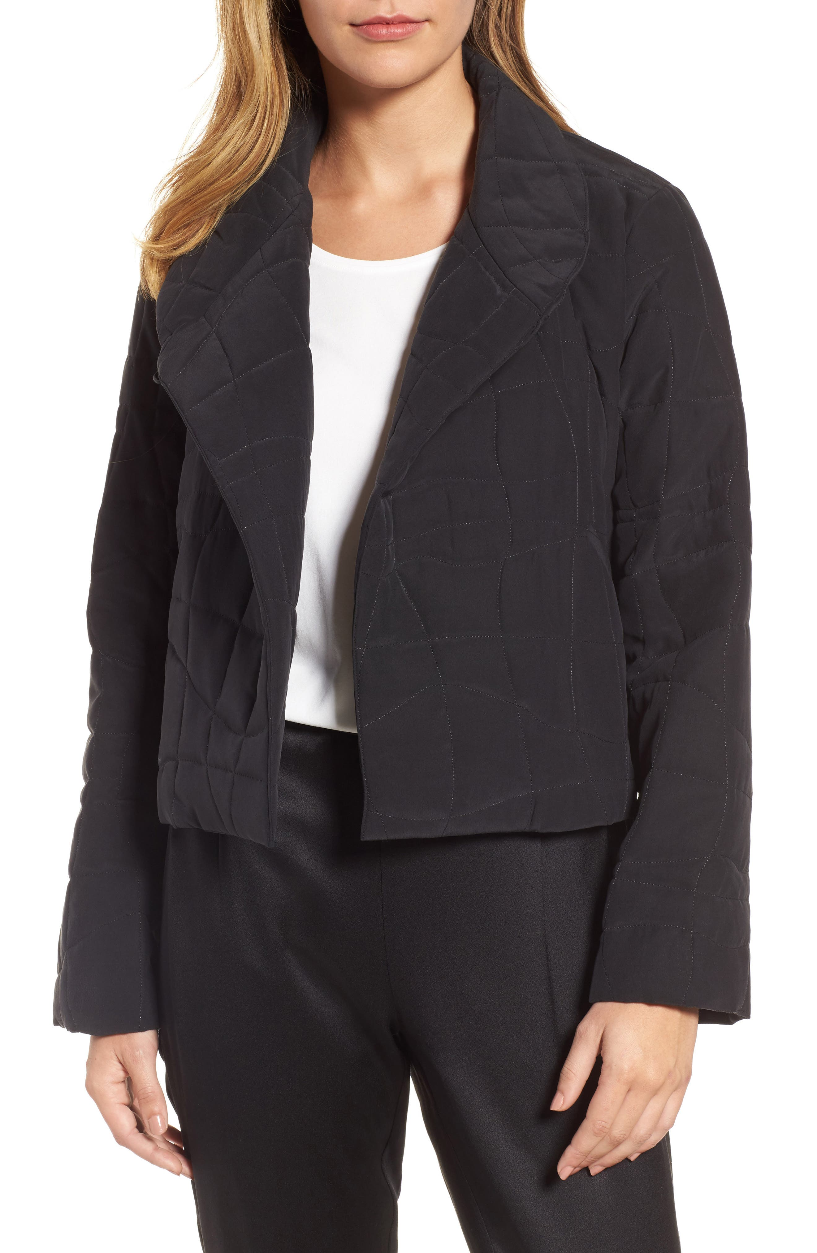 Quilted Silk Crop Jacket,                             Main thumbnail 1, color,                             Black