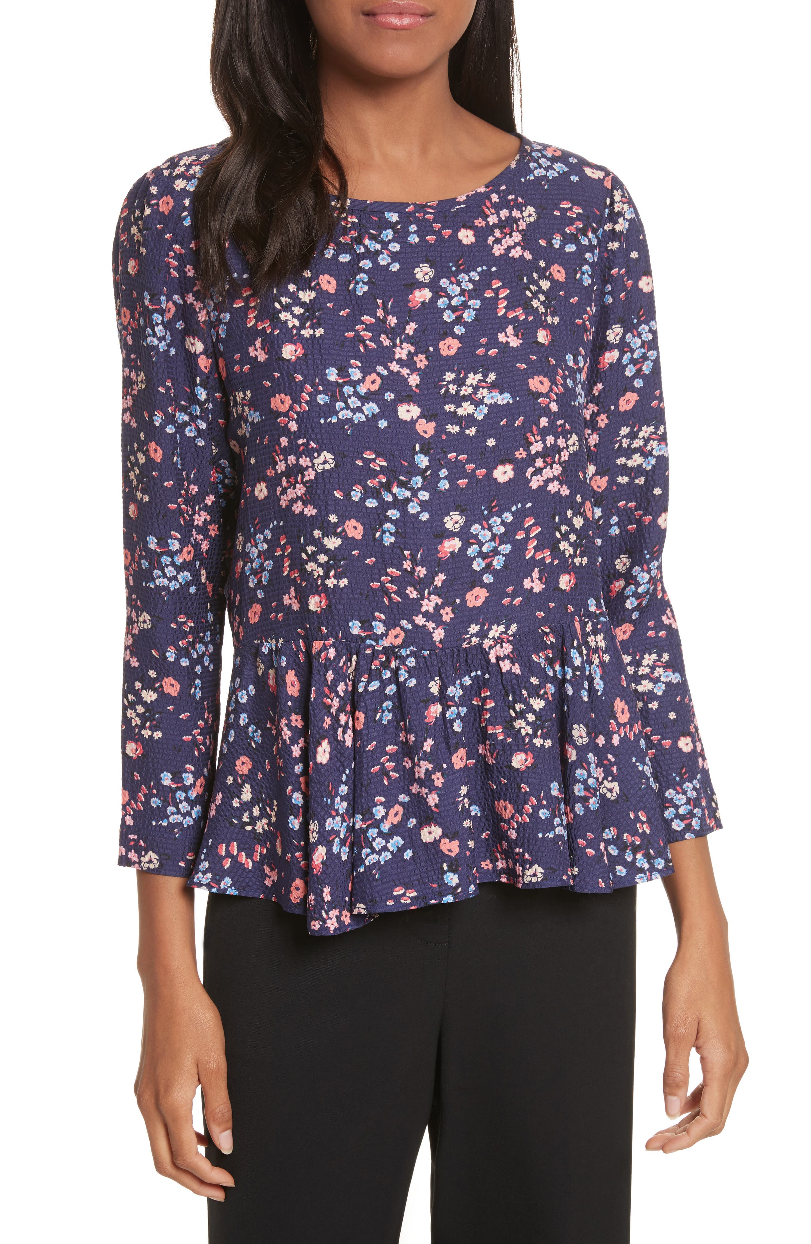 Woodland Floral Print Silk Top,                         Main,                         color, Deep Violet Combo
