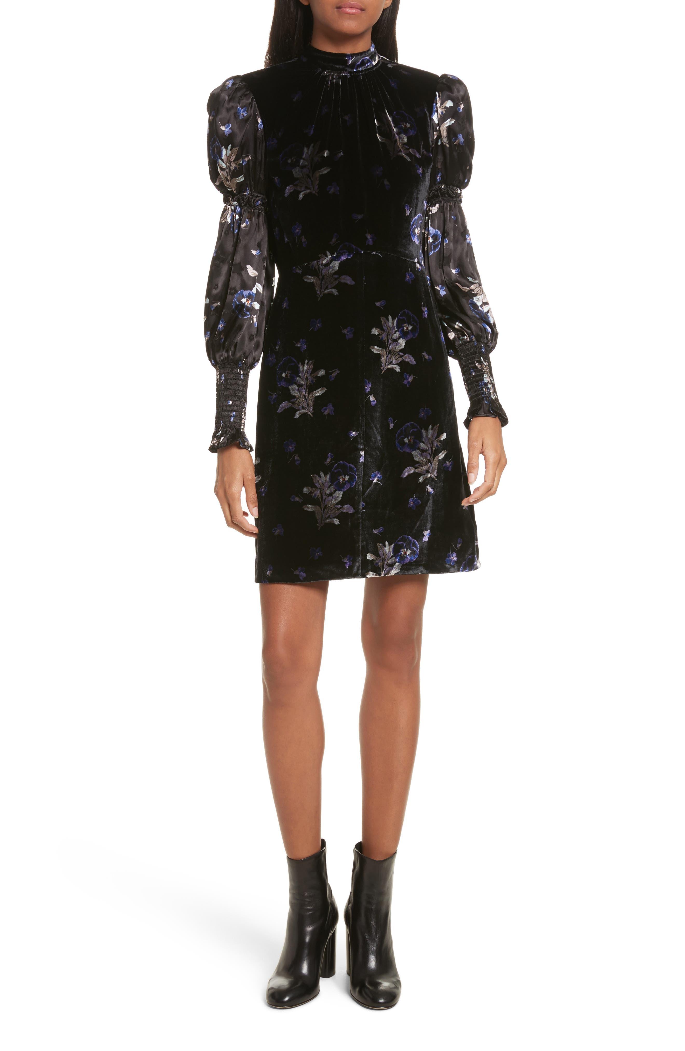 Violet Velvet Sheath Dress,                         Main,                         color, Black Combo